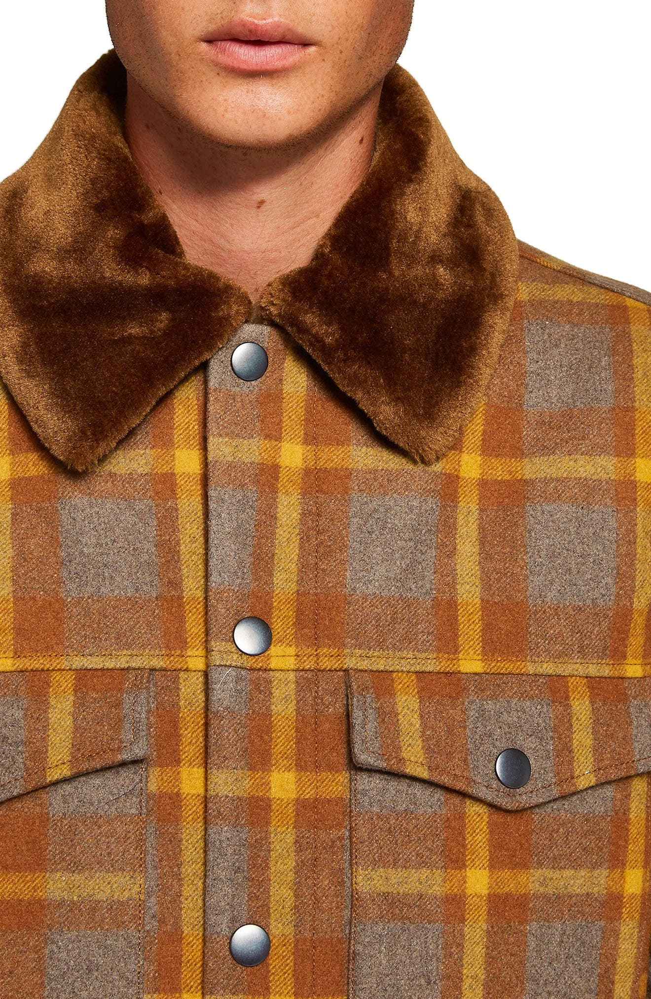 Borg Lined Classic Wool Jacket,                             Alternate thumbnail 3, color,                             BROWN MULTI