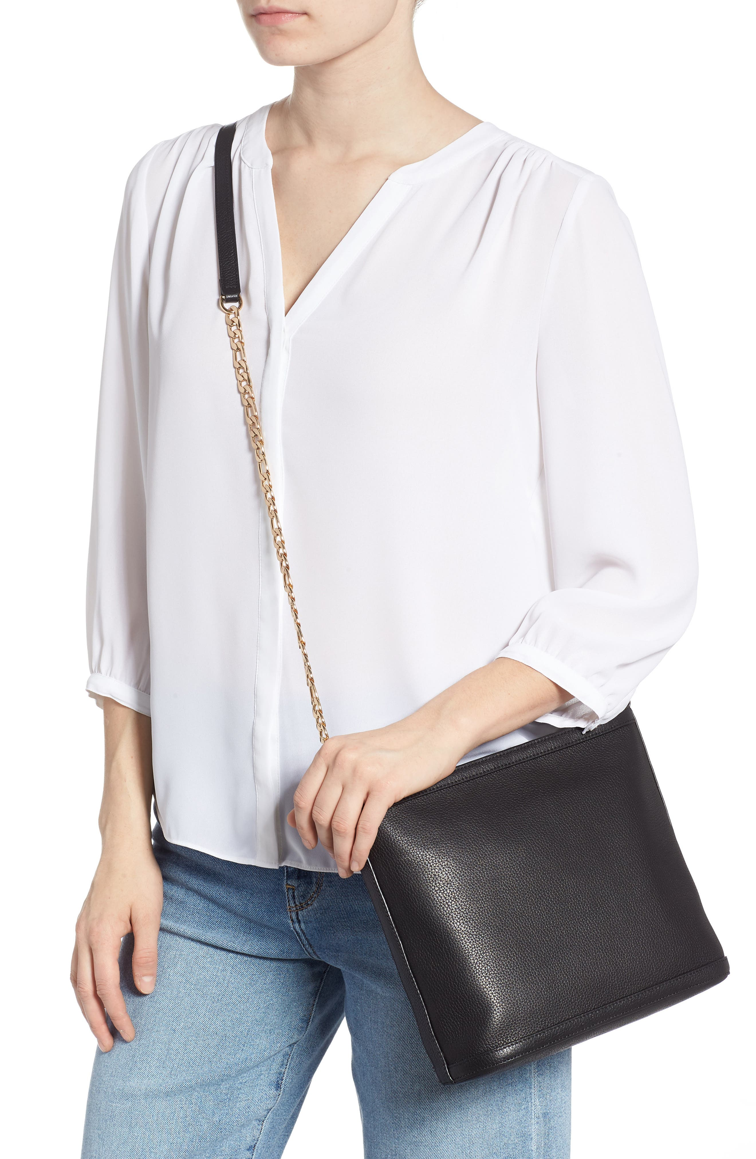 Maribel Leather Crossbody Bag,                             Alternate thumbnail 2, color,                             BLACK