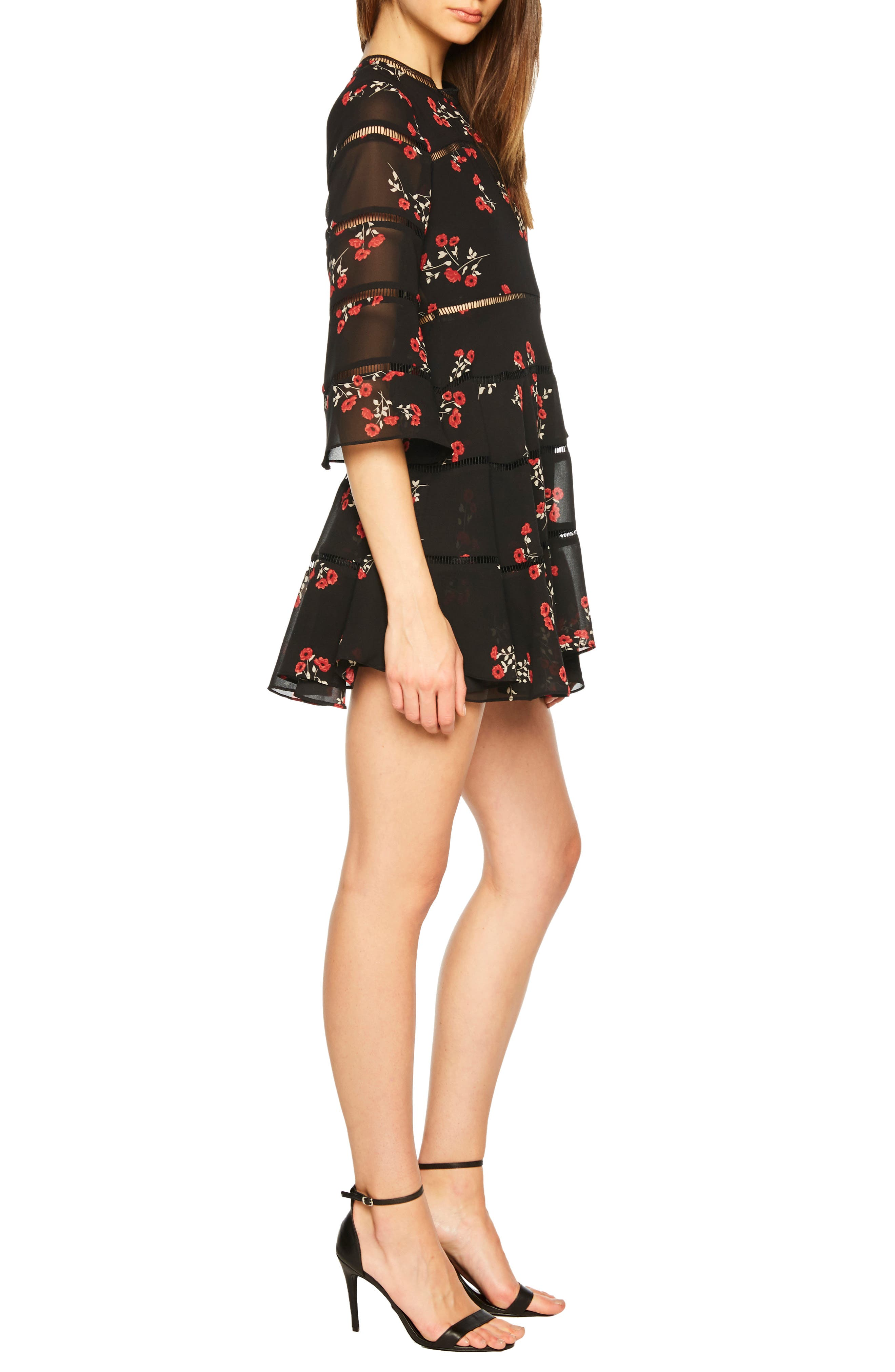 Poppy Print Dress,                             Alternate thumbnail 3, color,                             DITSY FLORAL