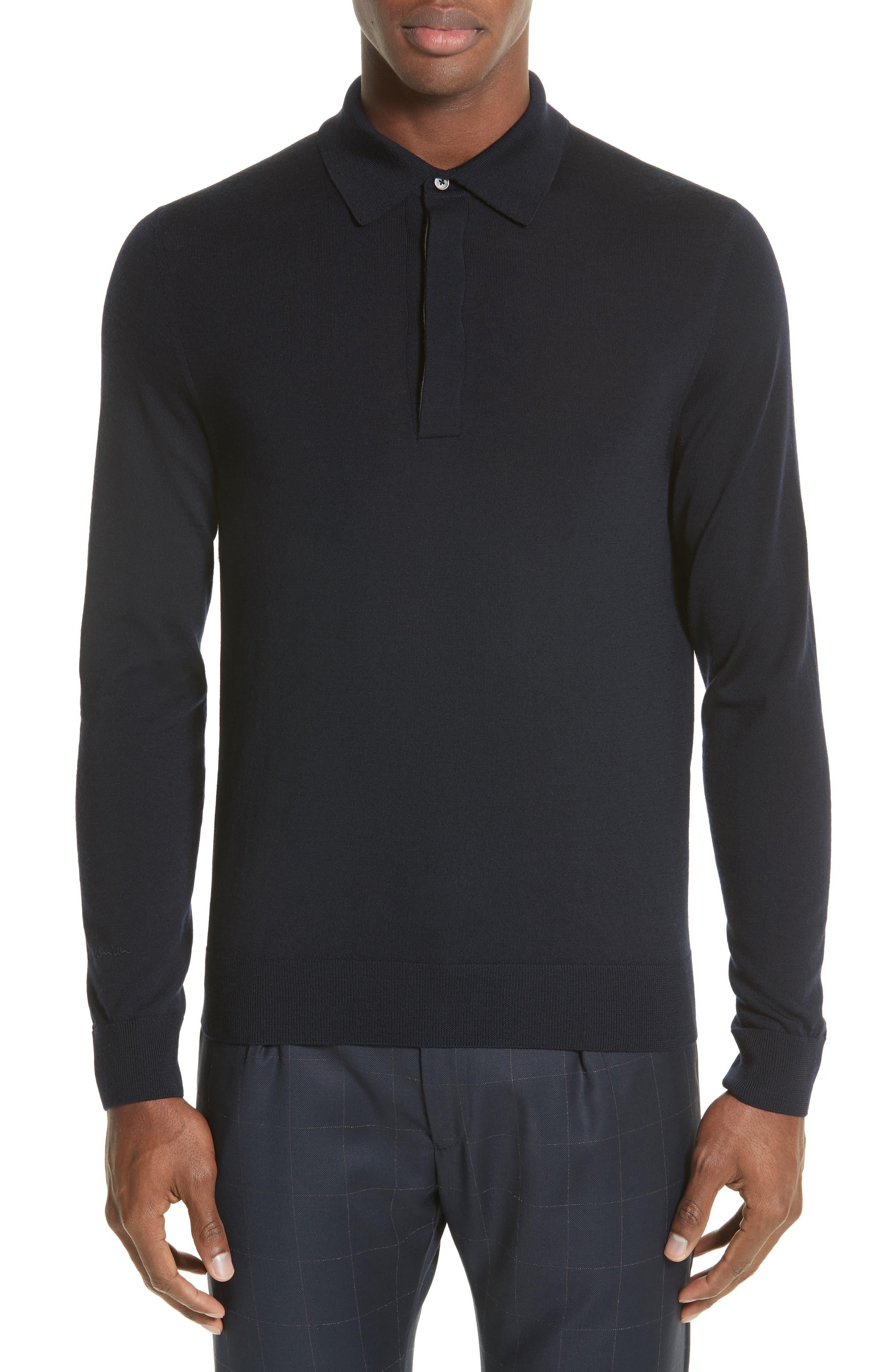 Merino Wool Long Sleeve Polo,                         Main,                         color, 410