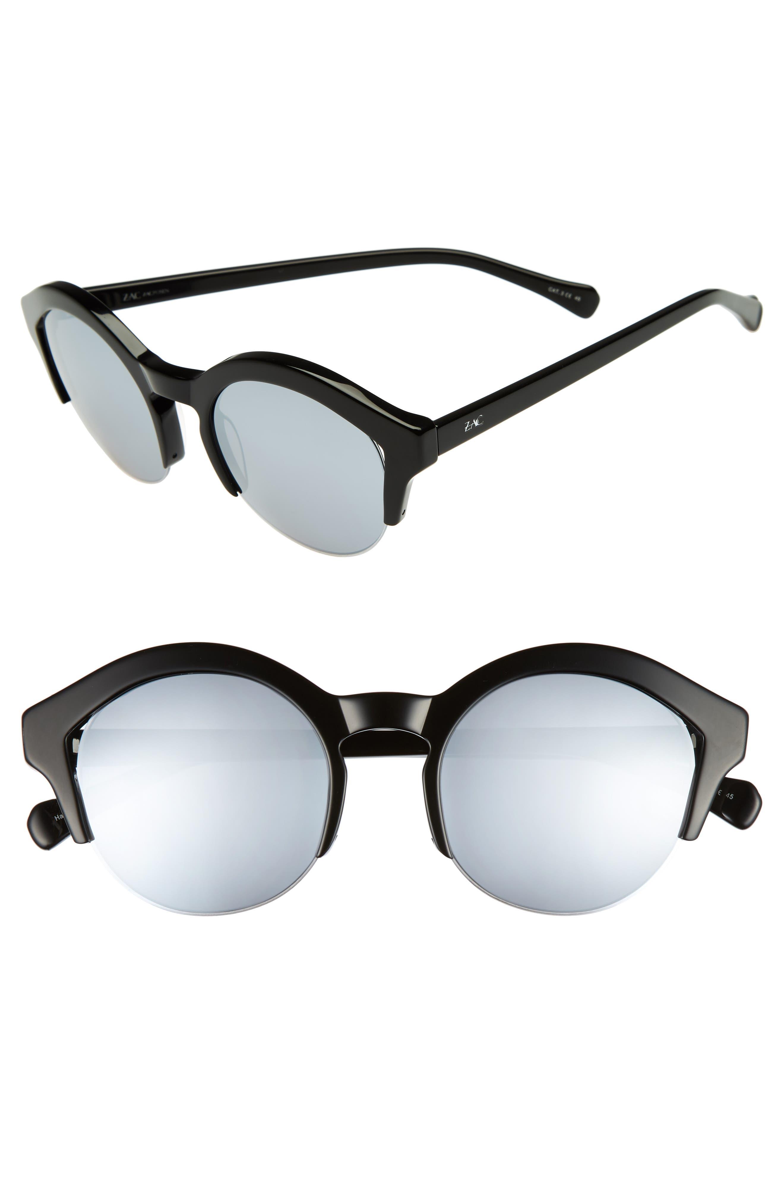 Bren 51mm Half-Rim Sunglasses,                             Main thumbnail 1, color,                             BLACK/ SILVER
