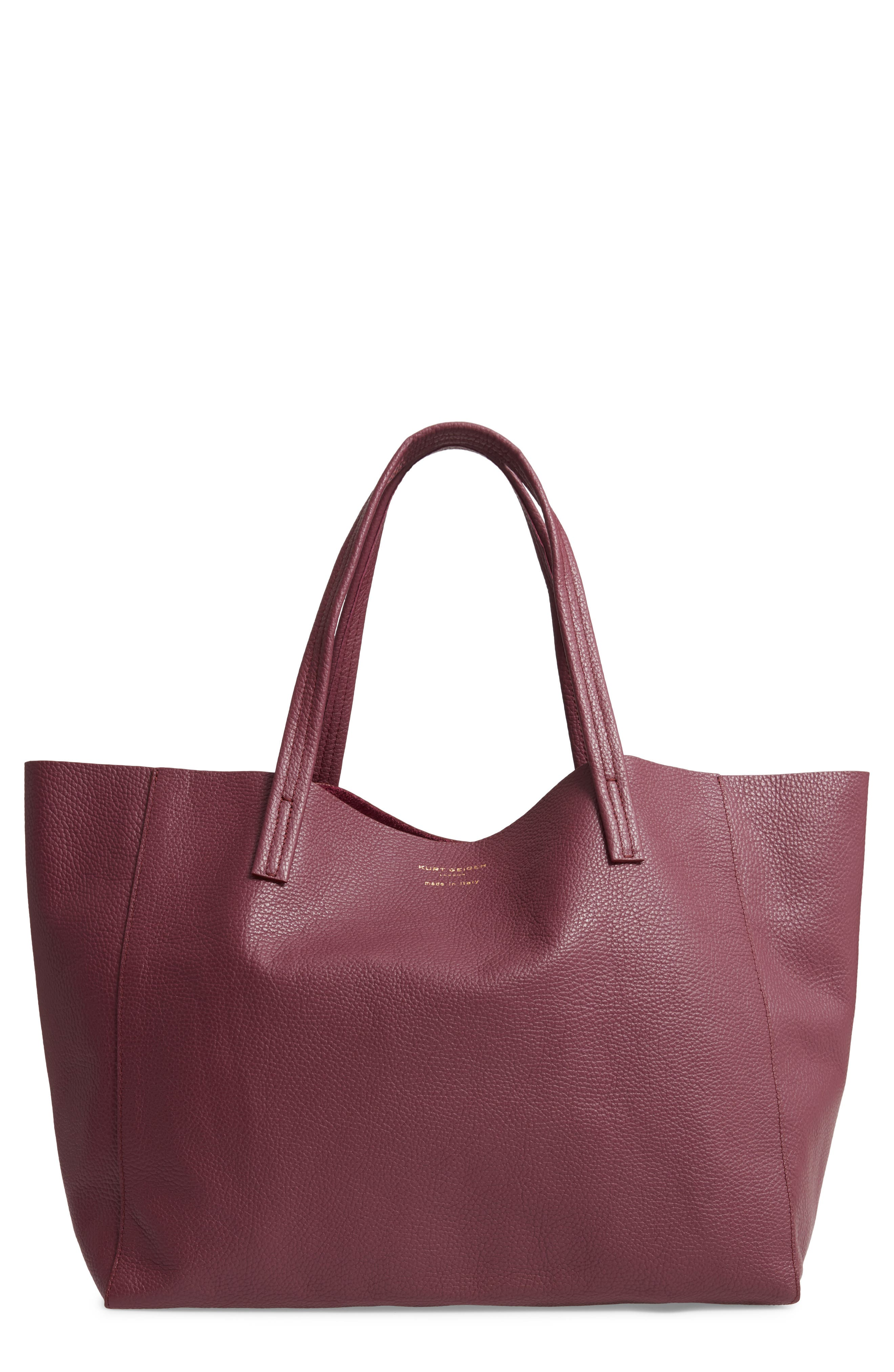 Violet Leather Tote,                         Main,                         color, RED/ OTHER