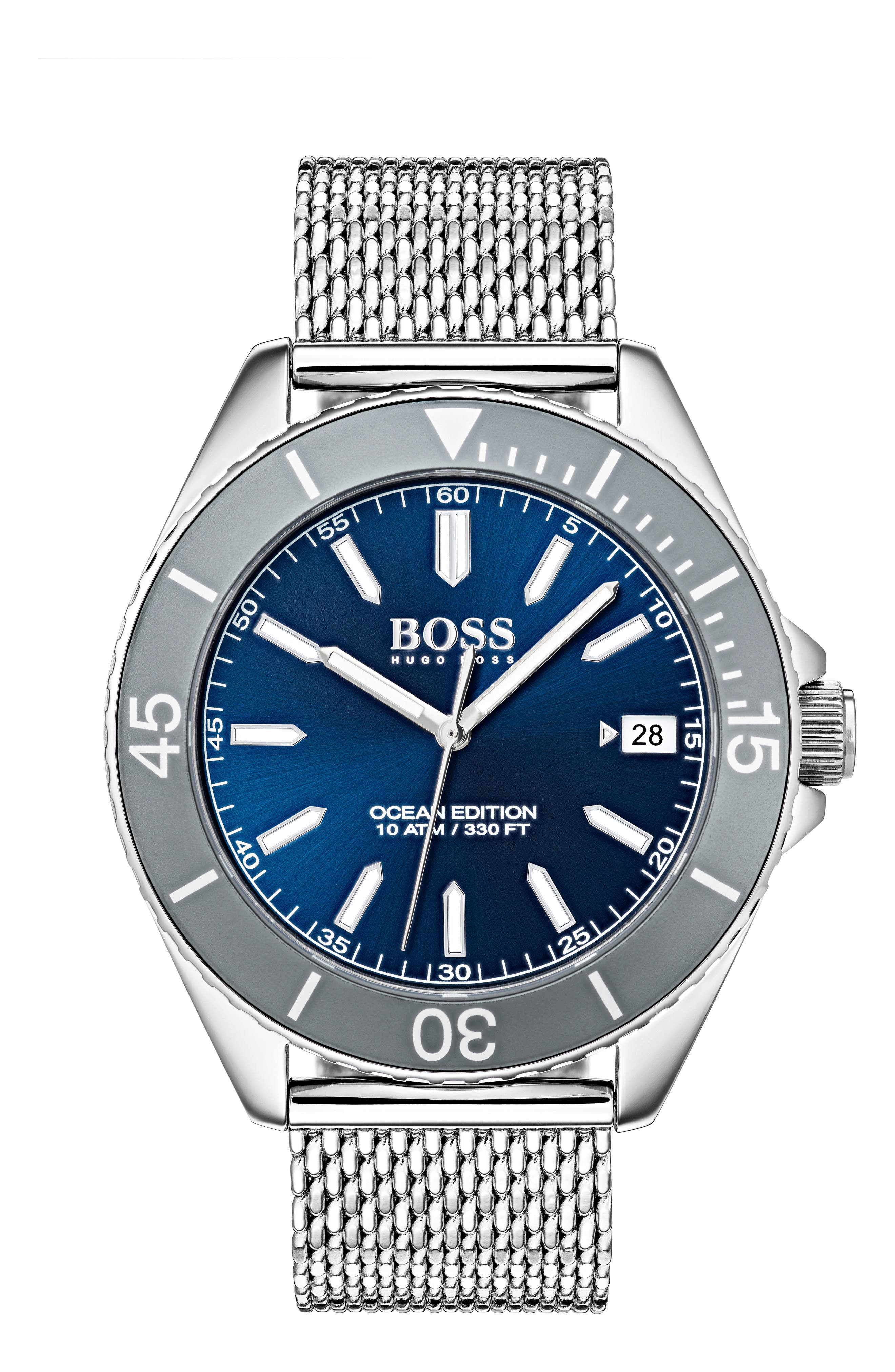 Ocean Mesh Strap Watch, 42mm,                             Main thumbnail 1, color,                             NAVY/ SILVER
