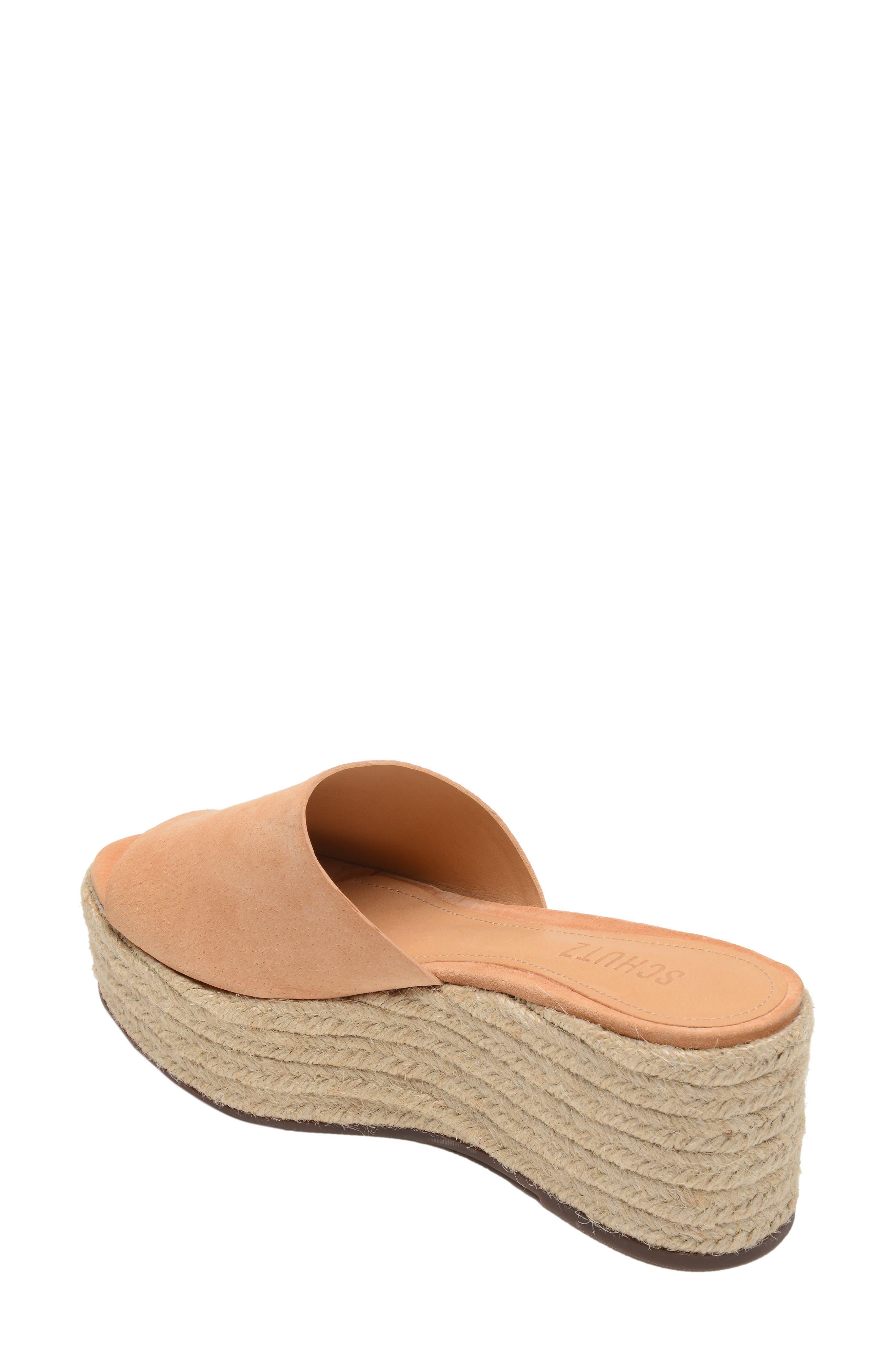 Thalia Platform Wedge Slide Sandal,                             Alternate thumbnail 2, color,                             HONEY BEIGE