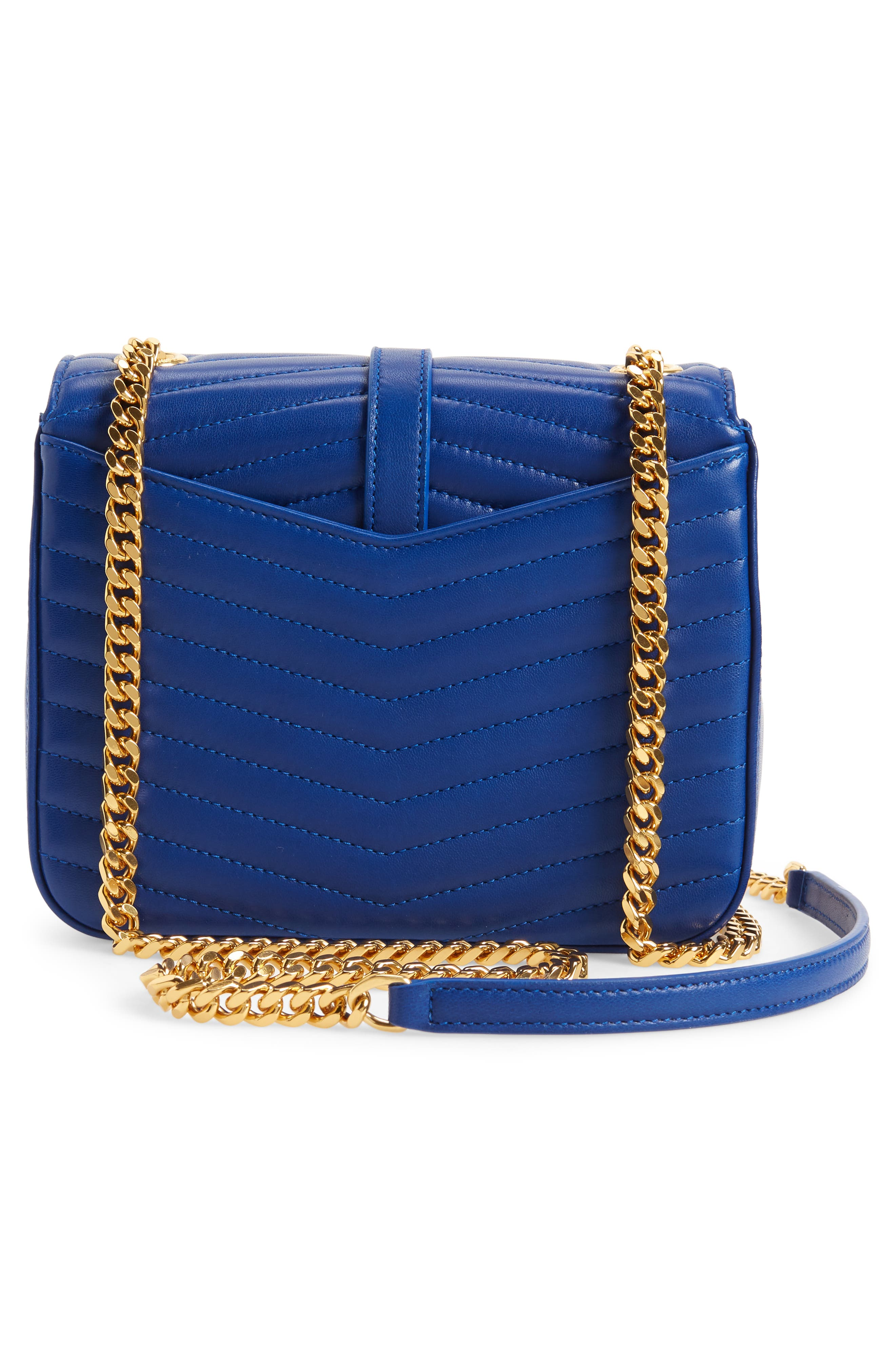 Montaigne Quilted Lambskin Crossbody Bag,                             Alternate thumbnail 3, color,                             BRIGHT BLUE