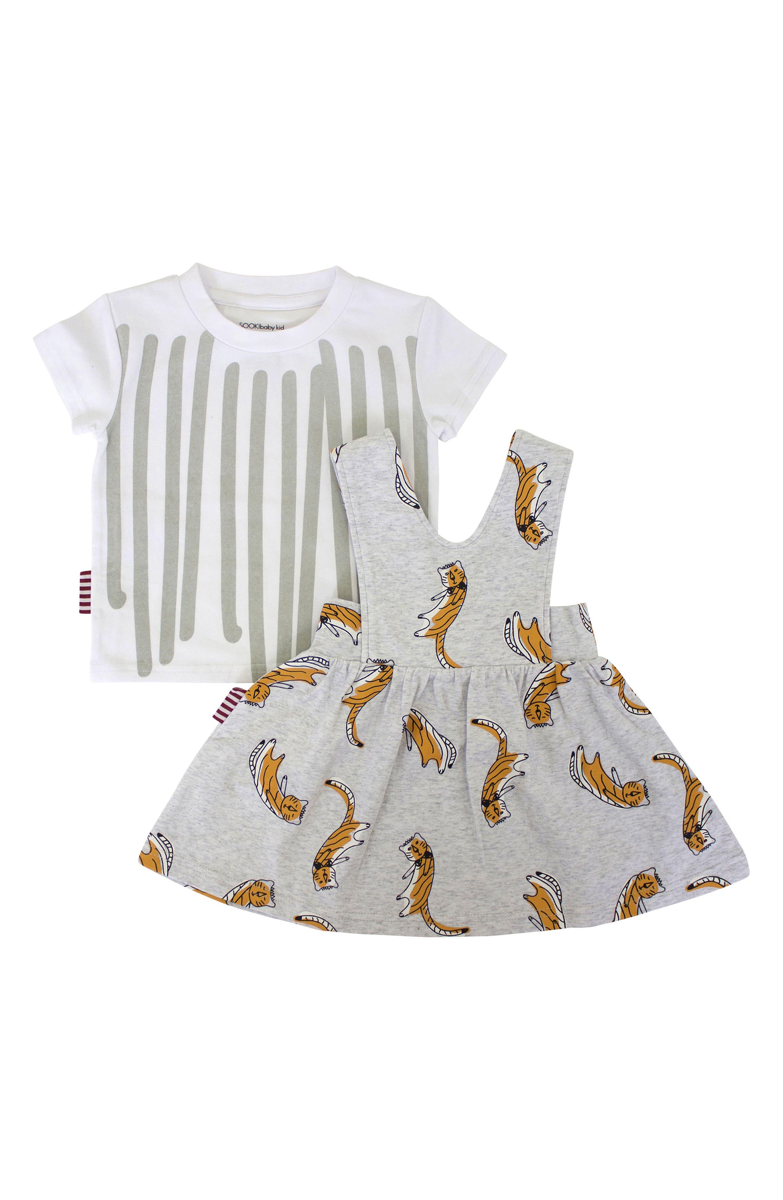 Stripe Tee & Cool Cat Pinafore Dress Set,                         Main,                         color, 029