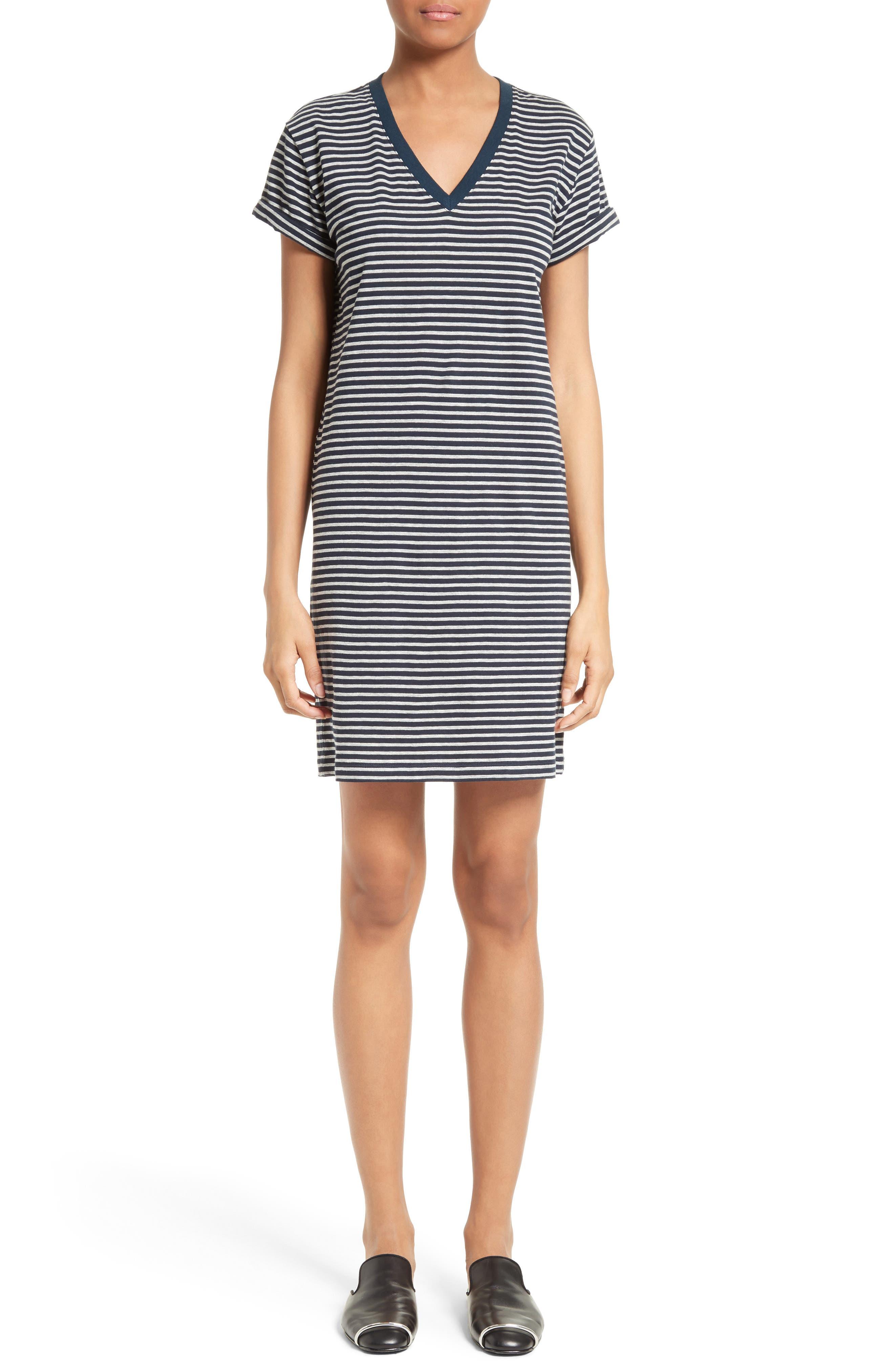 T by Alexander Wang Stripe T-Shirt Dress,                             Main thumbnail 1, color,                             400