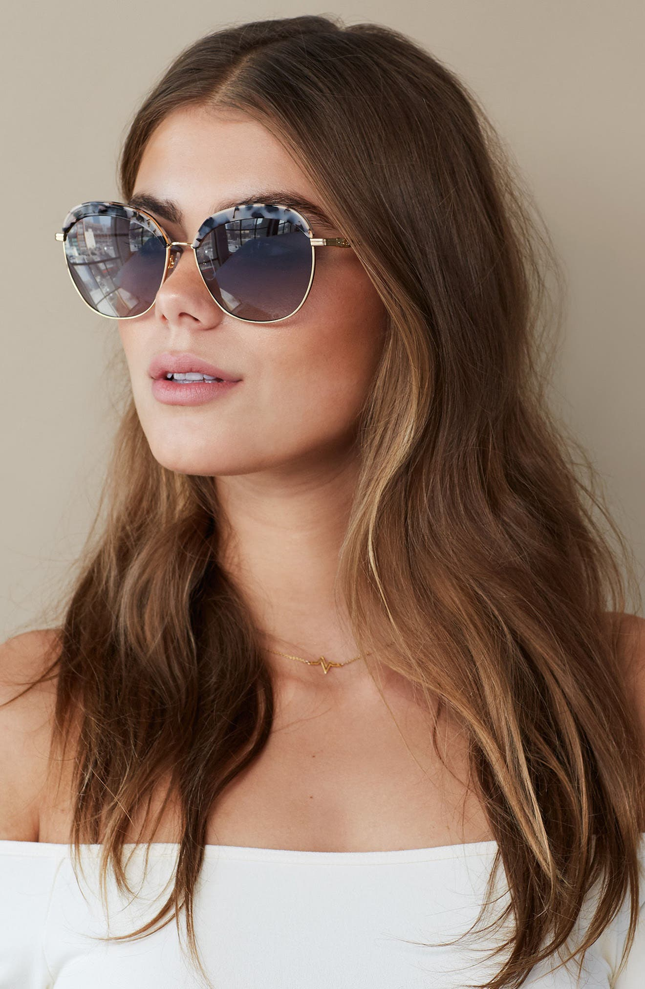 Birdie 60mm Oversize Sunglasses,                             Alternate thumbnail 4, color,                             200