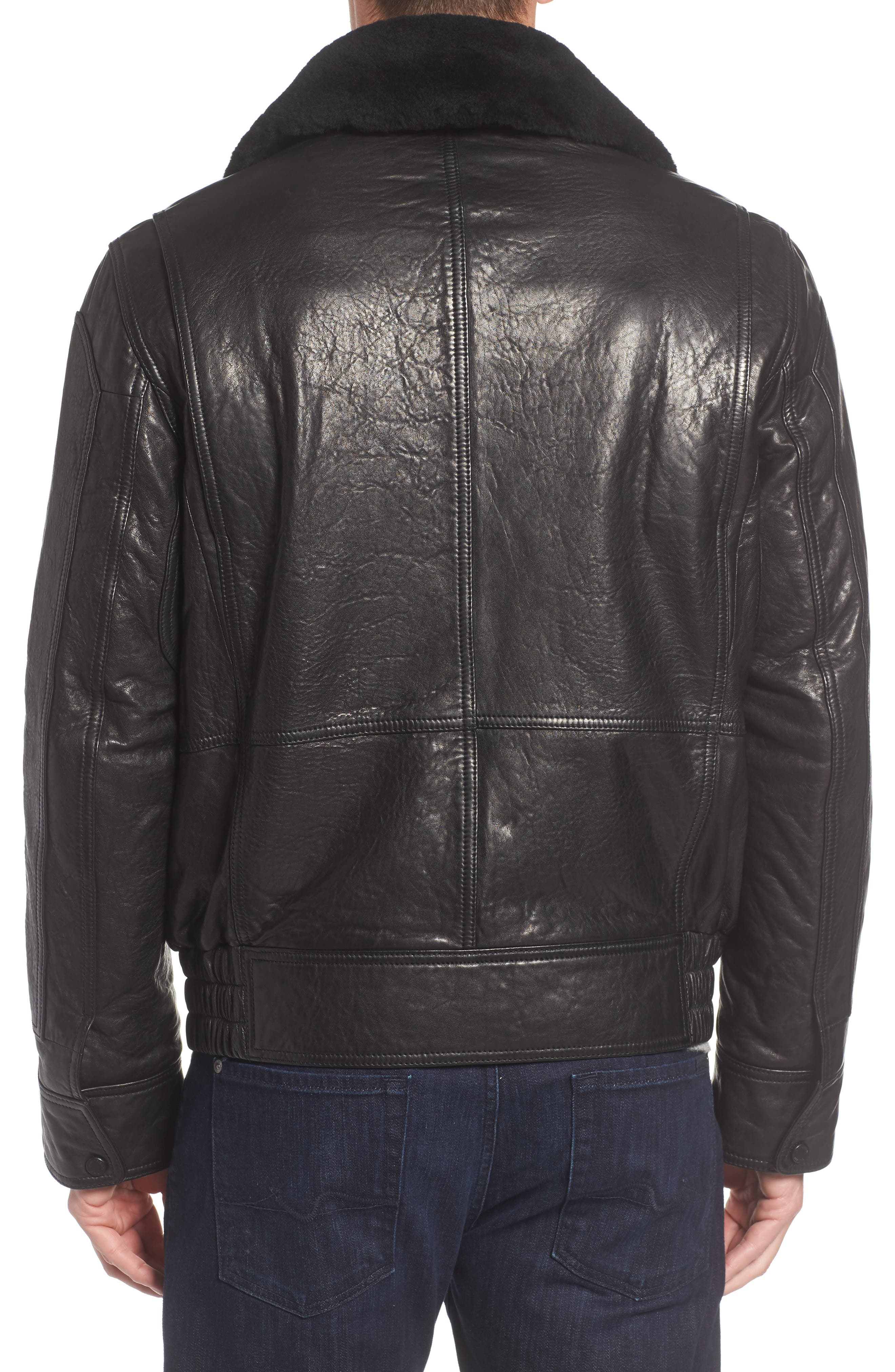 3614 Leather Jacket with Genuine Lamb Shearling Collar,                             Alternate thumbnail 2, color,                             001