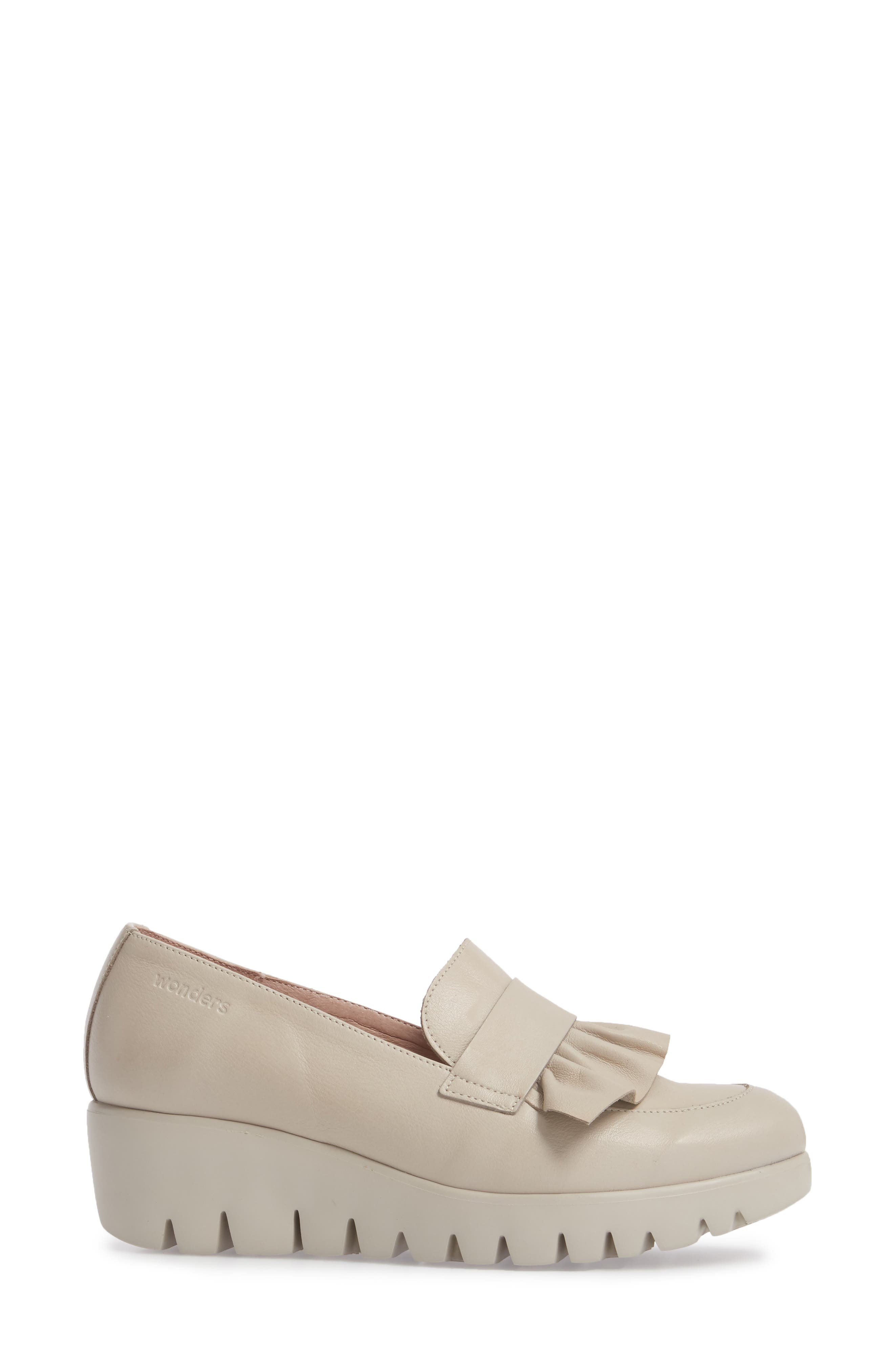 Loafer Wedge,                             Alternate thumbnail 3, color,                             LIGHT GREY LEATHER