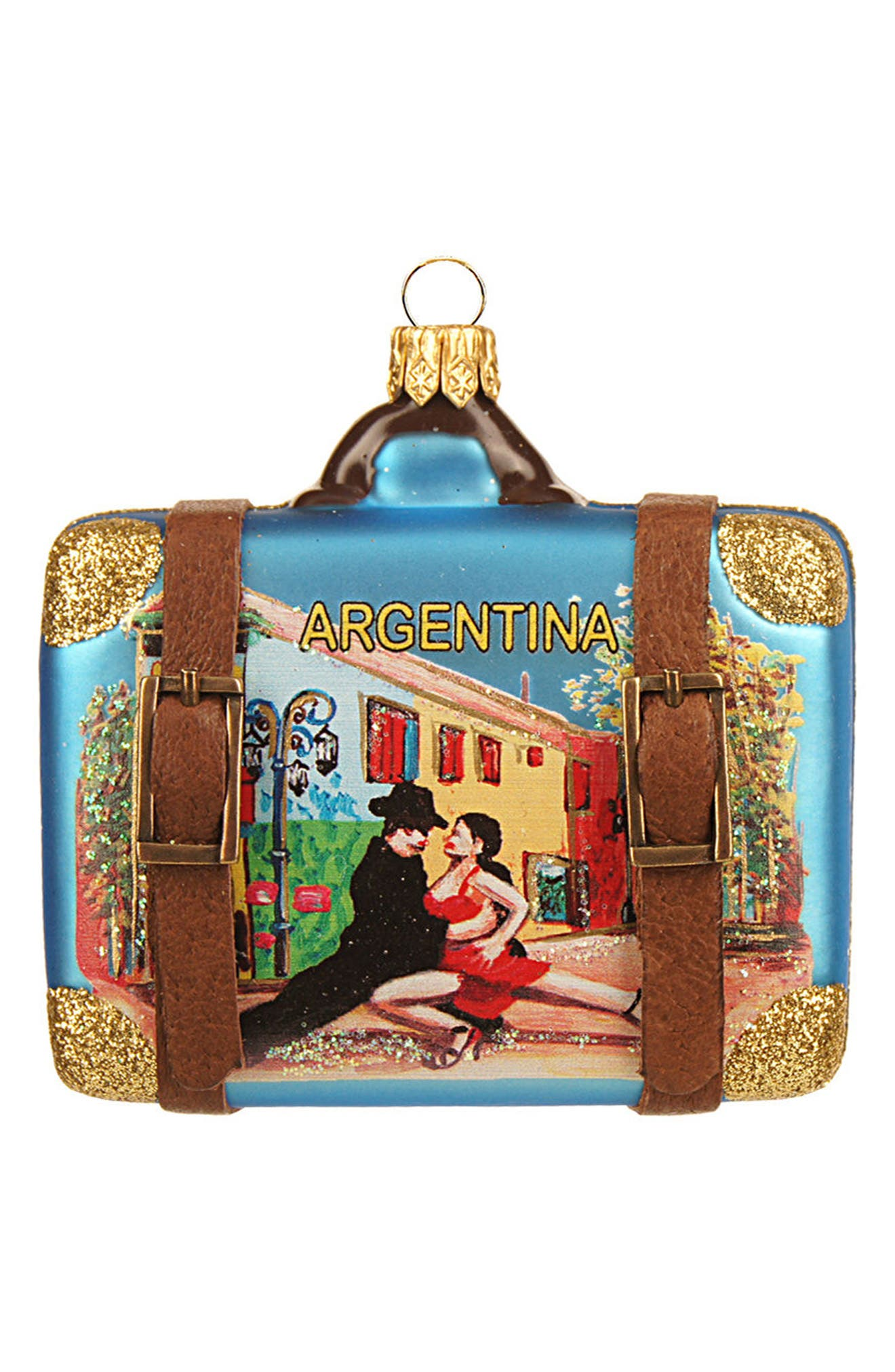 Handblown Glass Travel Suitcase Ornament,                         Main,                         color, 411