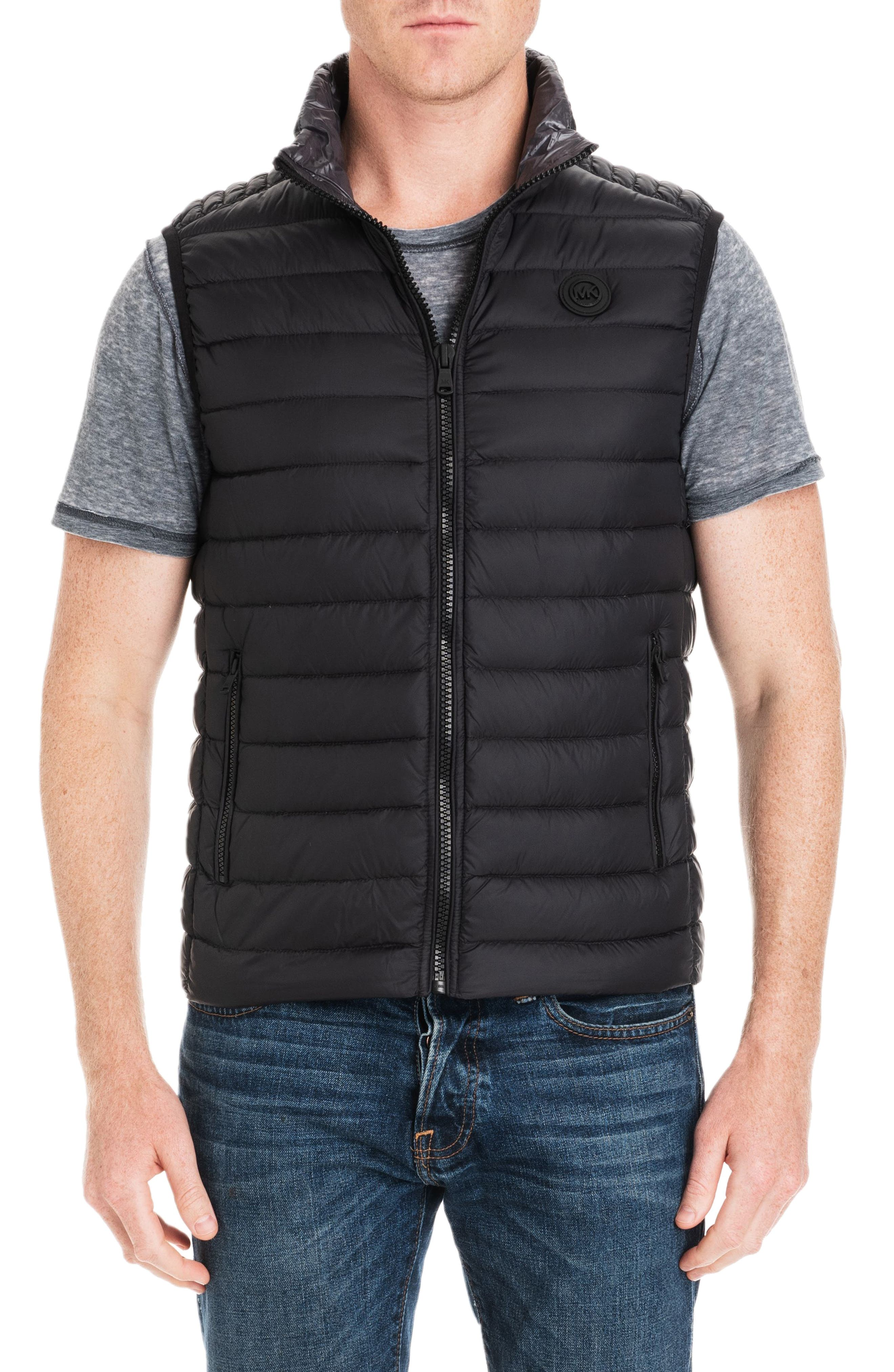 Michael Kors Slim Fit Packable Down Vest, Black (Online Only)