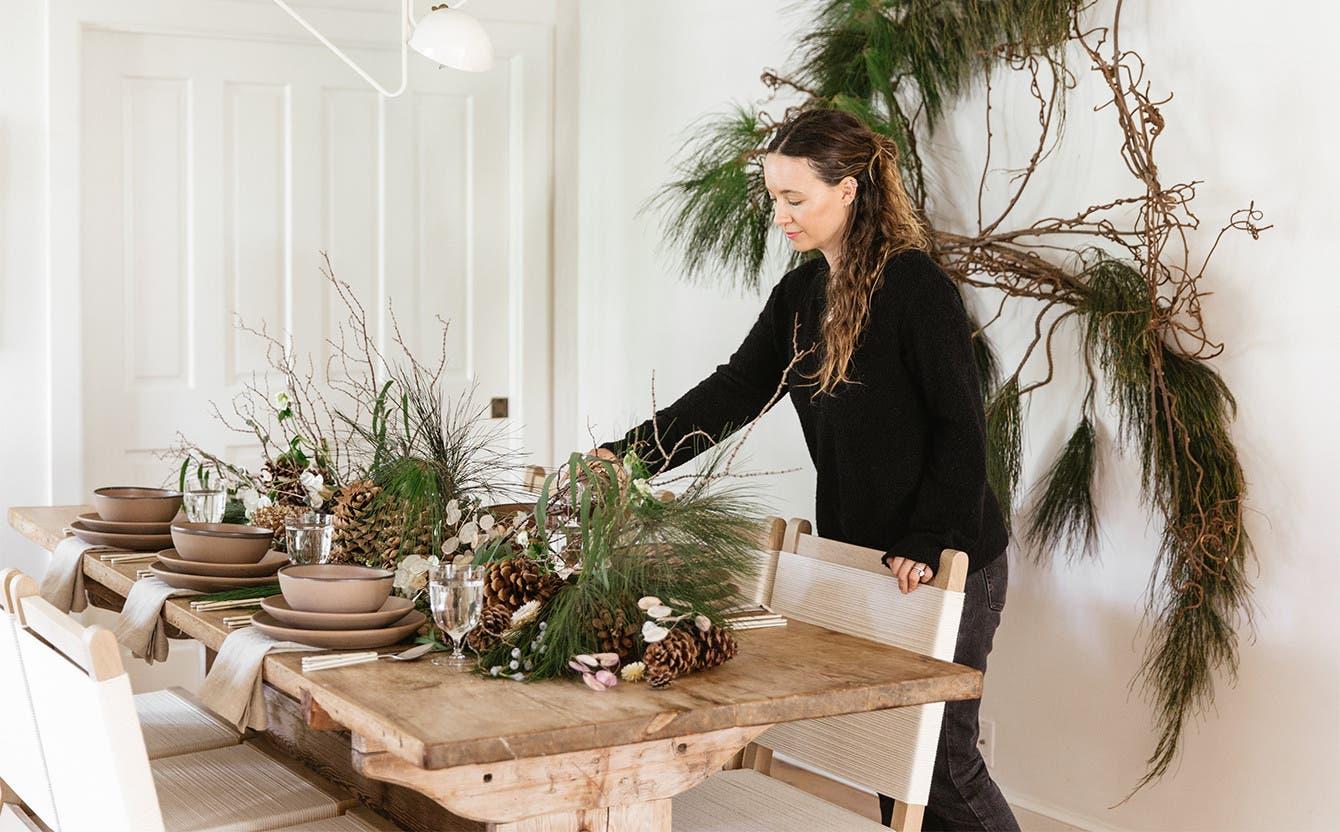 A semi-formal table setting by Jenni Kayne.