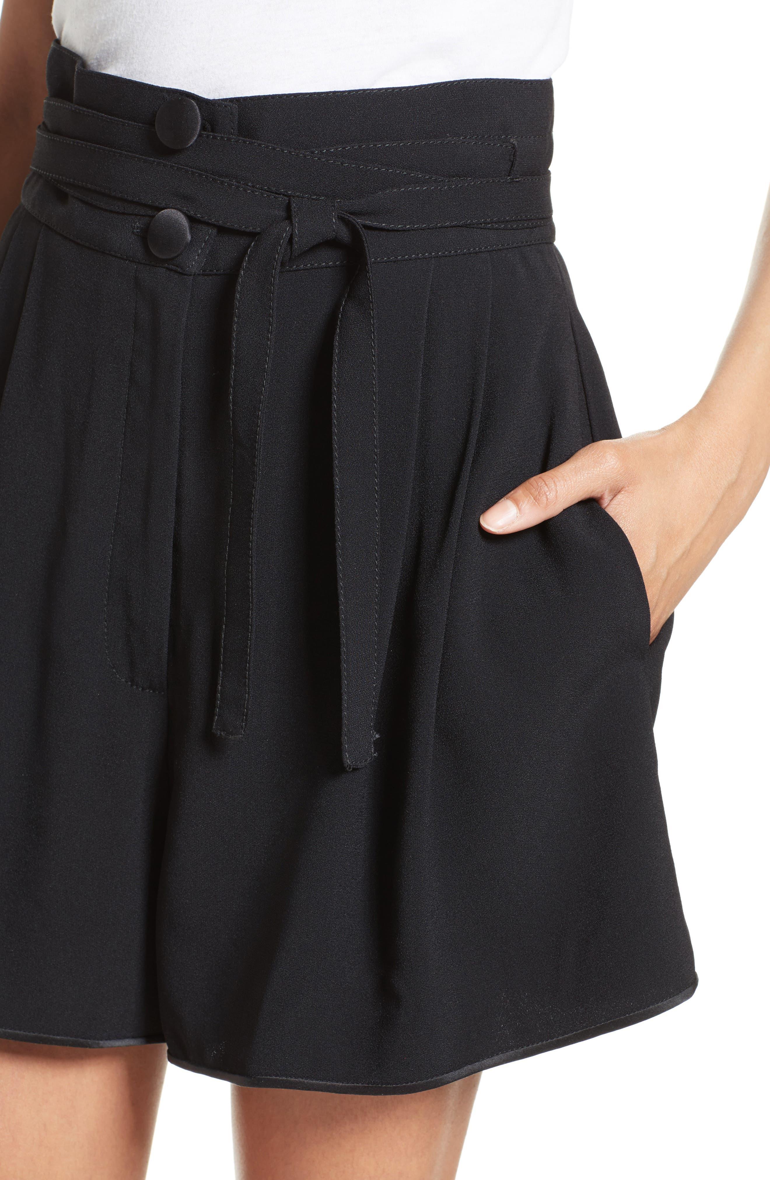 Tie Waist Shorts,                             Alternate thumbnail 4, color,                             001