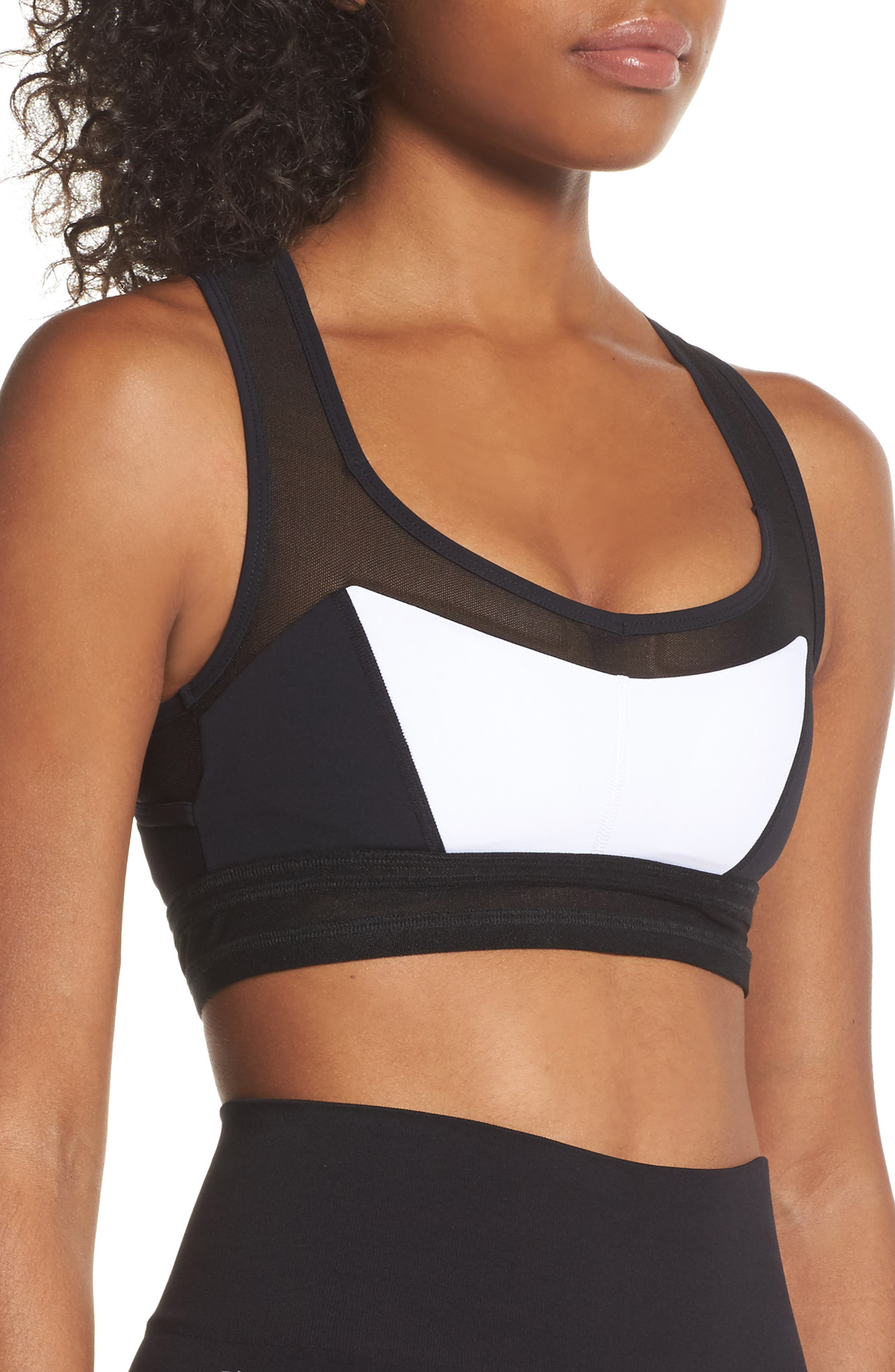 BoomBoom Athletica Mesh Sports Bra,                             Alternate thumbnail 3, color,                             010