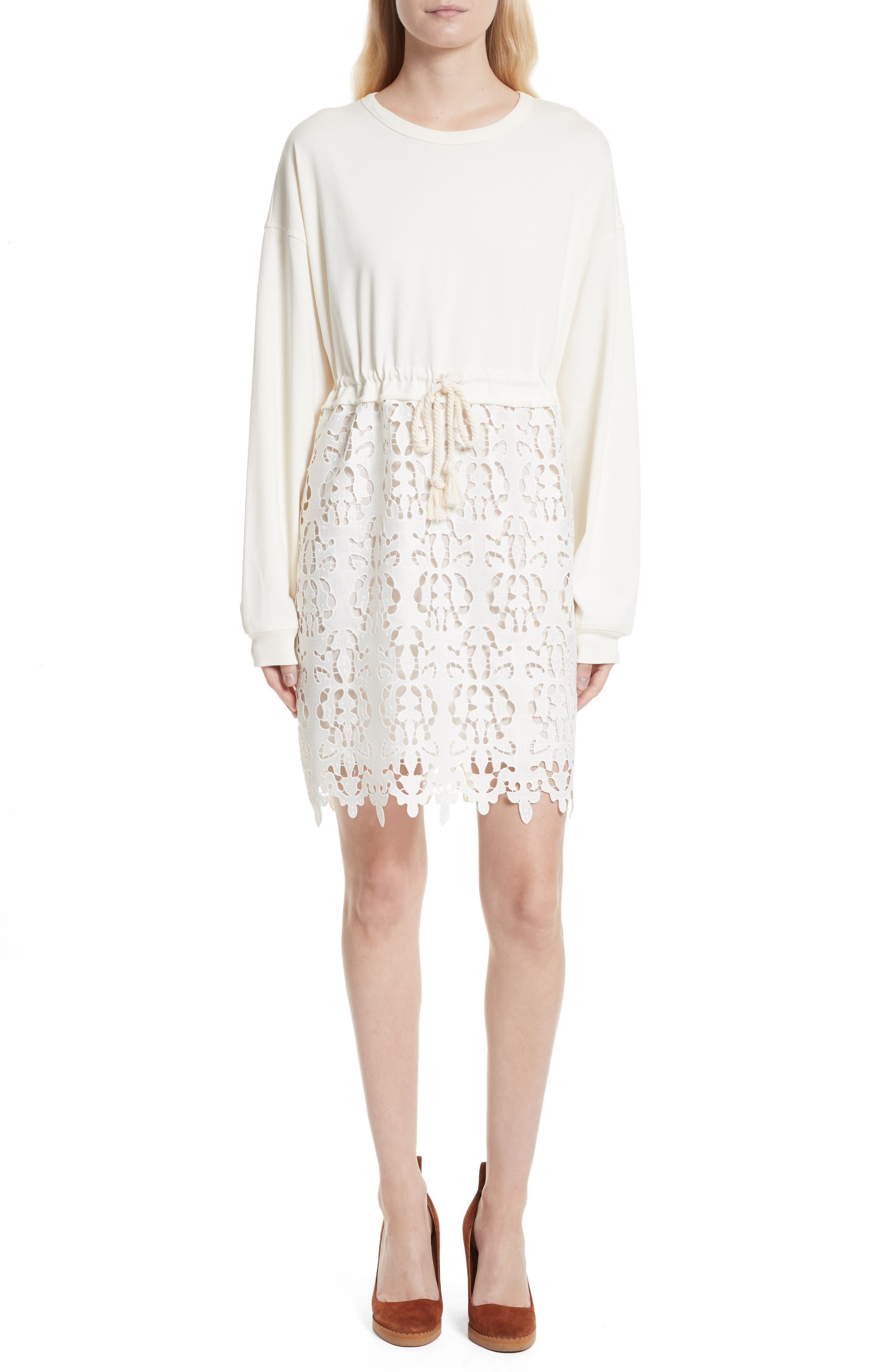 SEE BY CHLOÉ,                             Lace Skirt Sweatshirt Dress,                             Main thumbnail 1, color,                             101