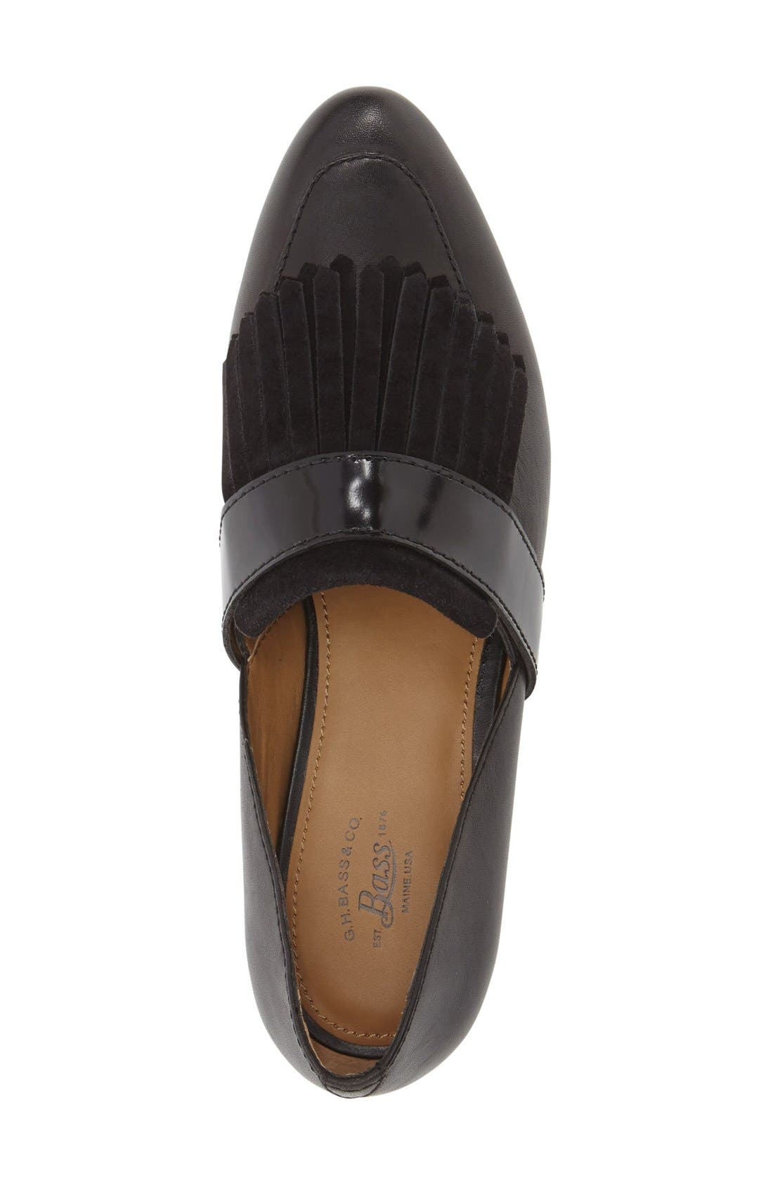 'Harlow' Kiltie Leather Loafer,                             Alternate thumbnail 3, color,                             BLACK LEATHER