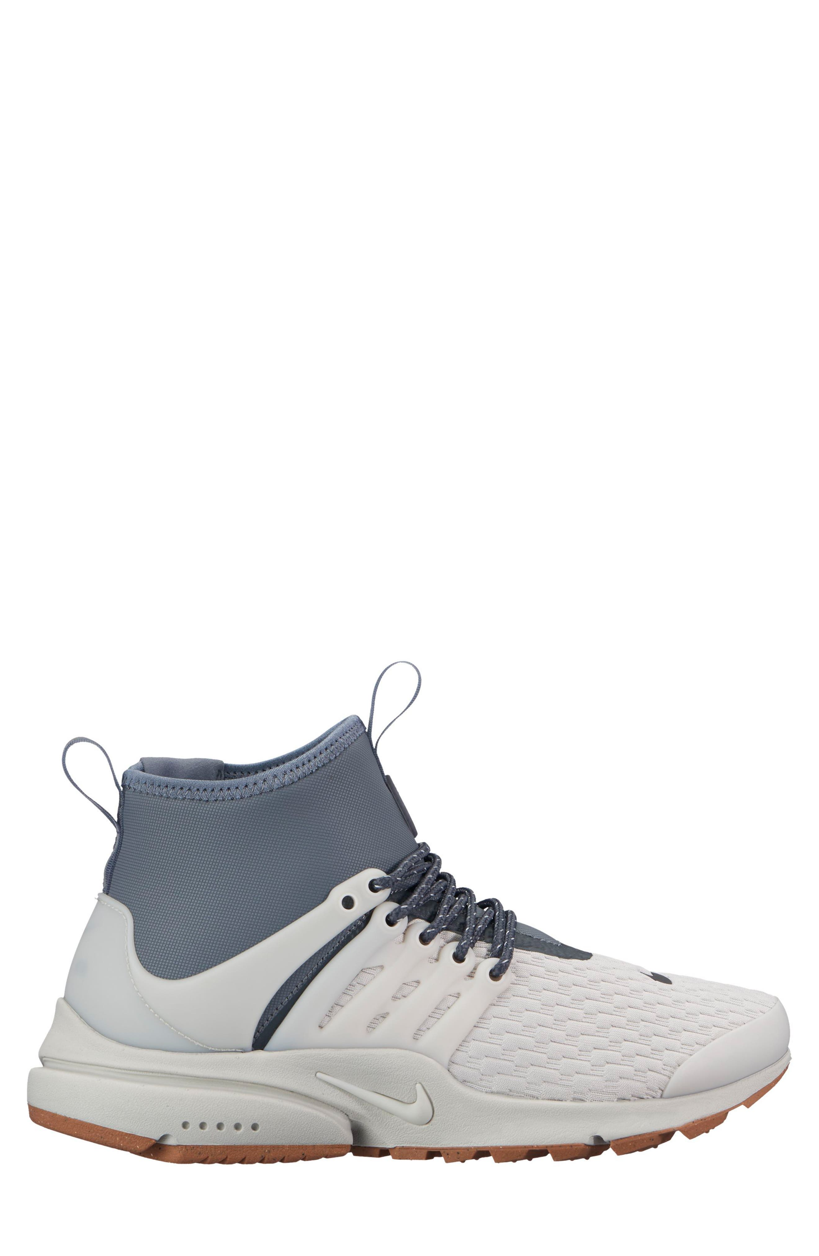 Air Presto Mid Utility Water Repellent Sneaker,                             Alternate thumbnail 3, color,                             LIGHT BONE/ COOL GREY