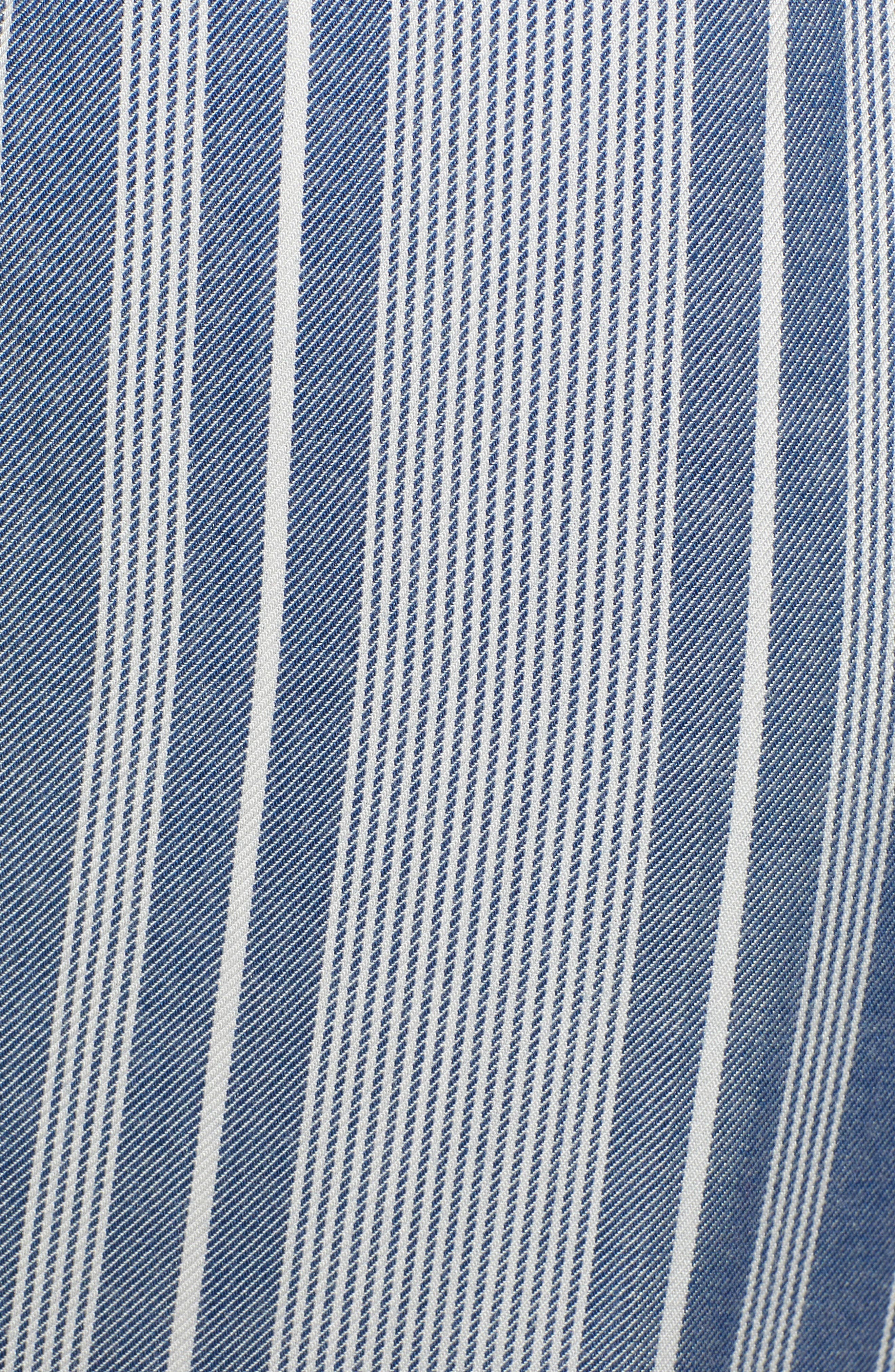 Jessa Stripe Tulip Hem Pants,                             Alternate thumbnail 6, color,                             MARSHMALLOW EMBROIDERED FLORAL