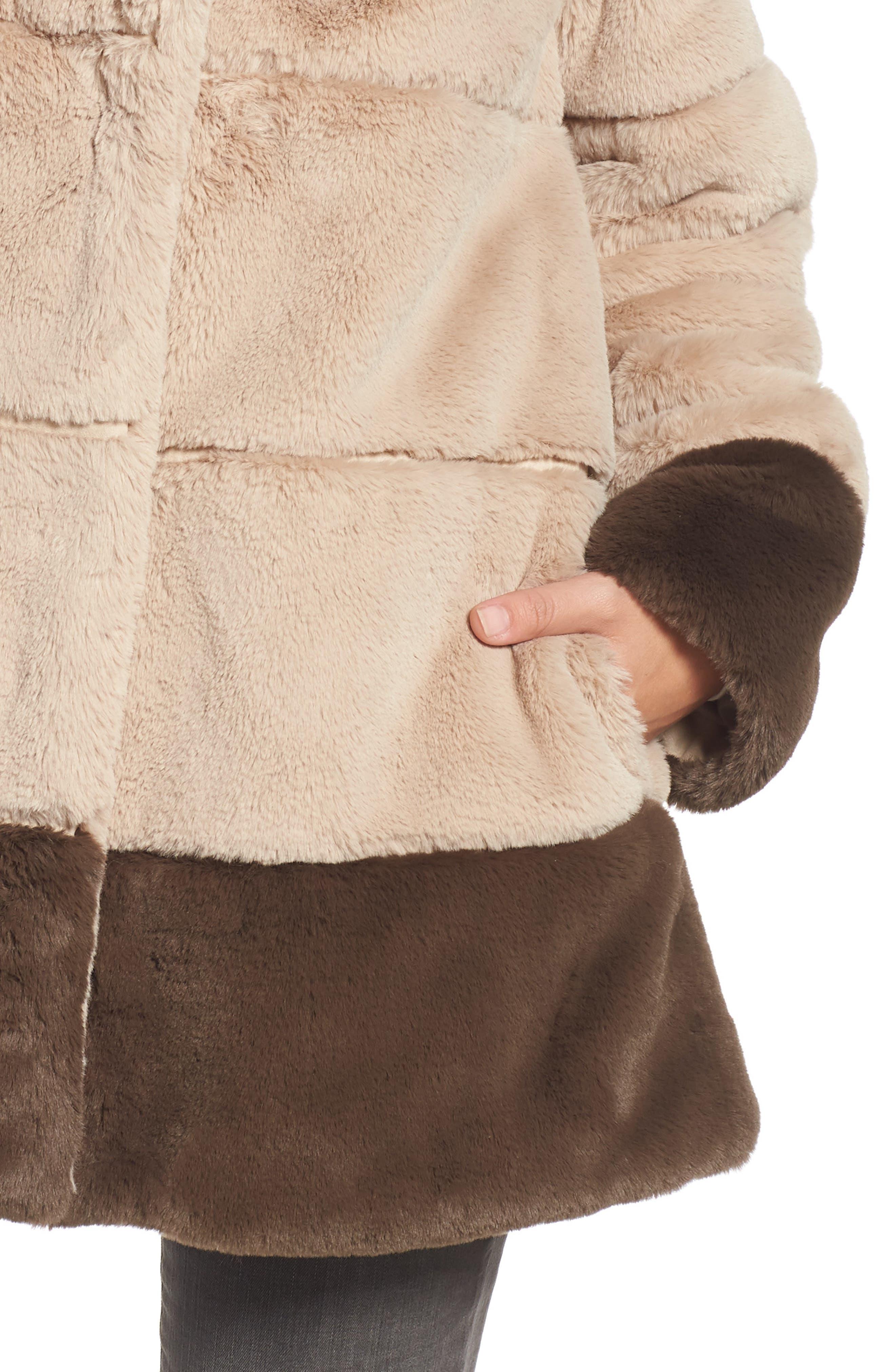 Colorblock Panel Faux Fur Jacket,                             Alternate thumbnail 4, color,                             BEIGE/ BROWN