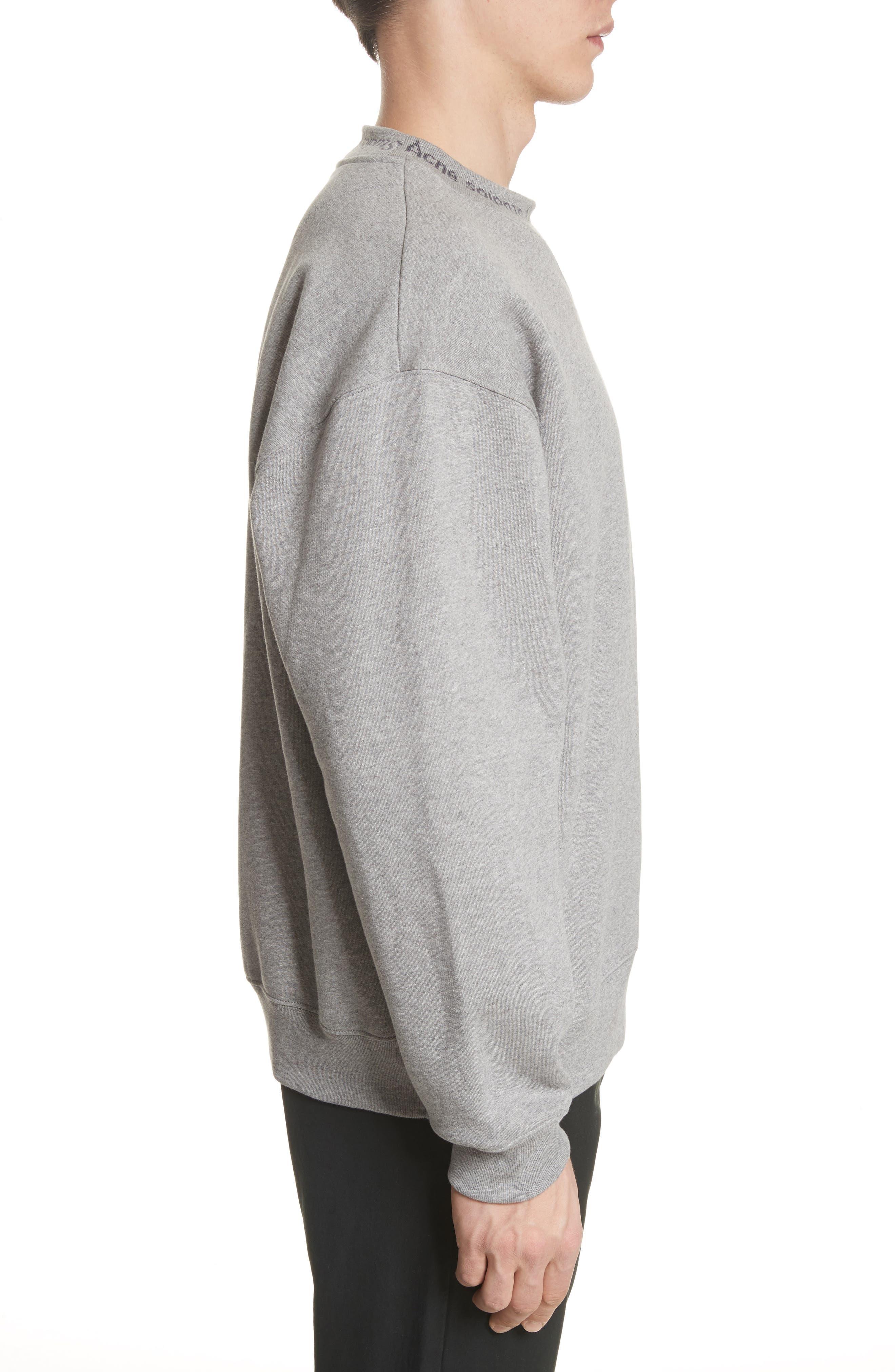Flogo Oversize Cotton Sweatshirt,                             Alternate thumbnail 3, color,                             LIGHT GREY MELANGE