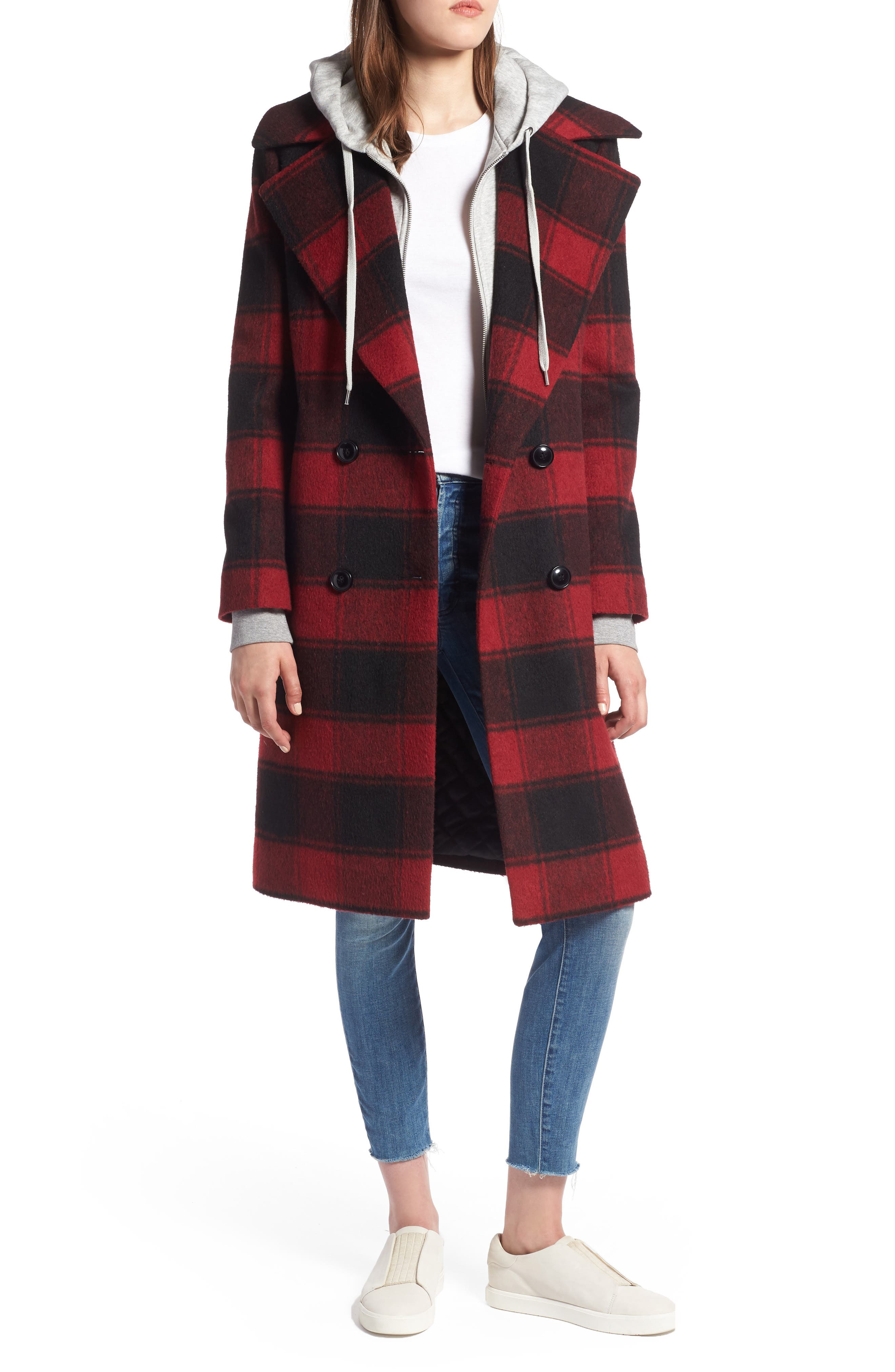 KENDALL + KYLIE Double Breasted Plaid Wool Blend Coat in Red
