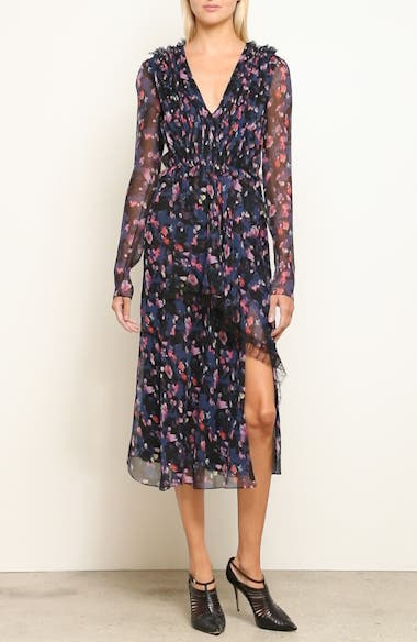 Print Silk Chiffon Midi Dress, video thumbnail