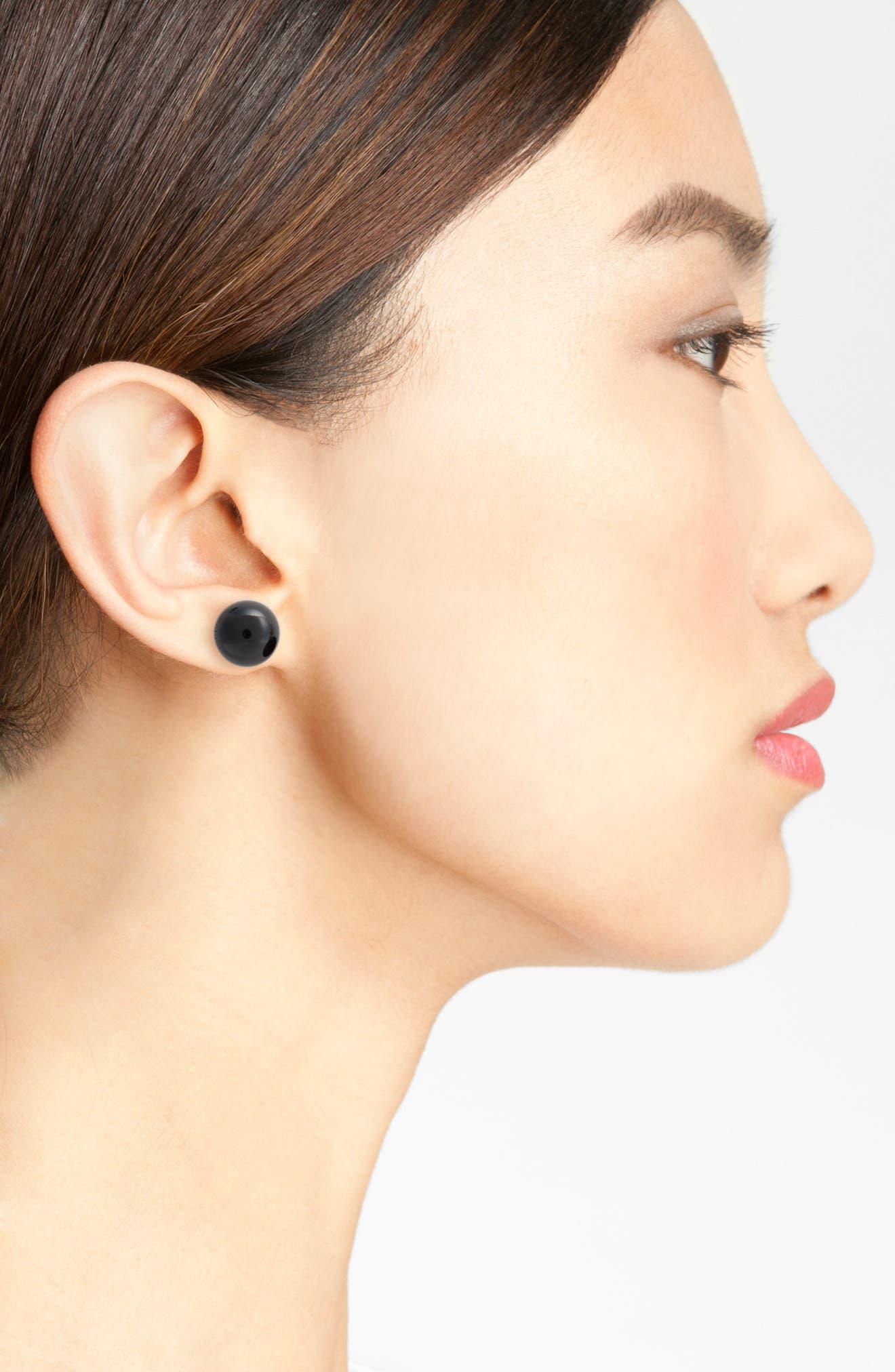Onyx Sphere Stud Earrings,                             Alternate thumbnail 2, color,                             041