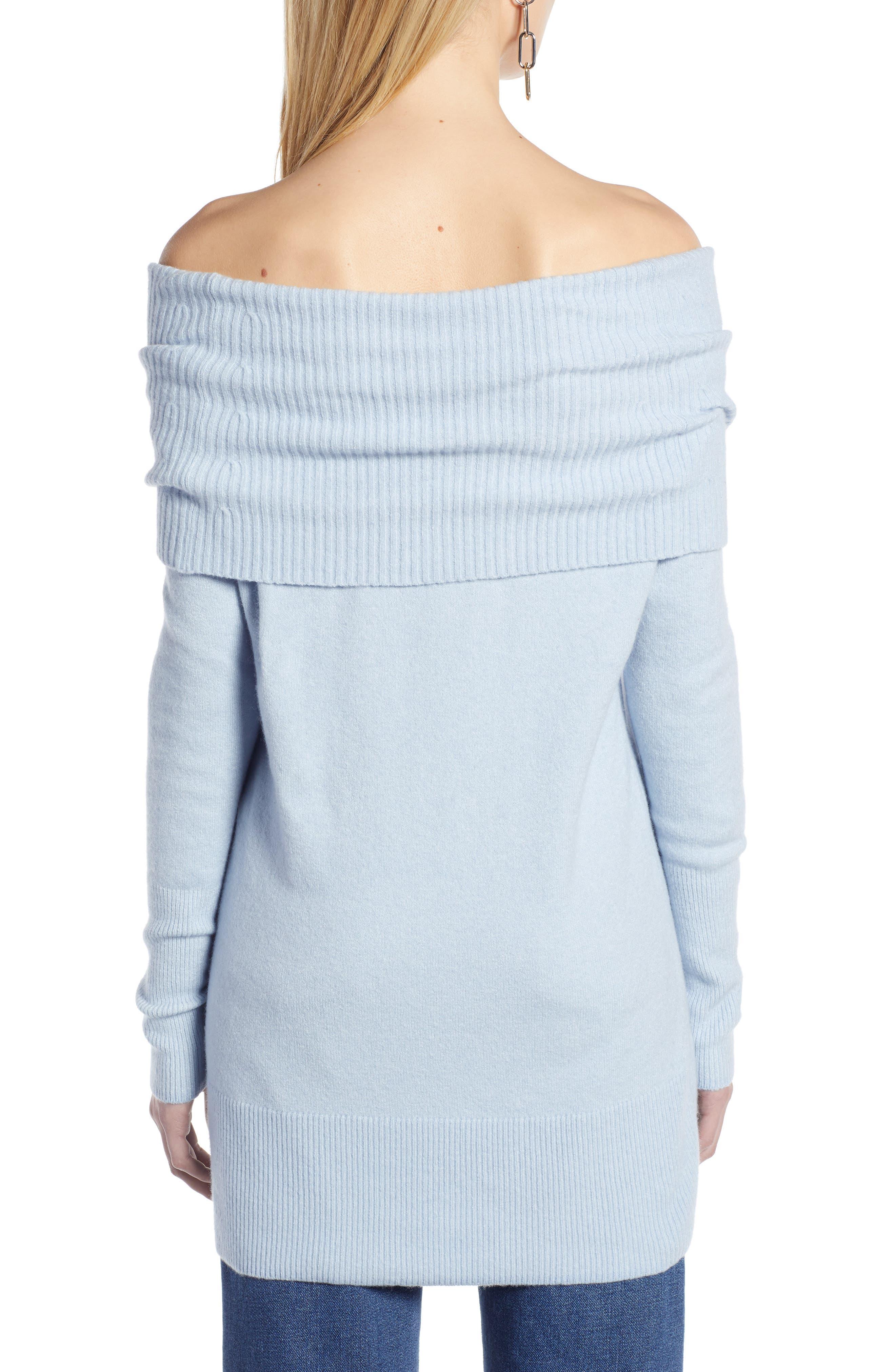 Convertible Neck Sweater,                             Alternate thumbnail 2, color,                             BLUE FOG