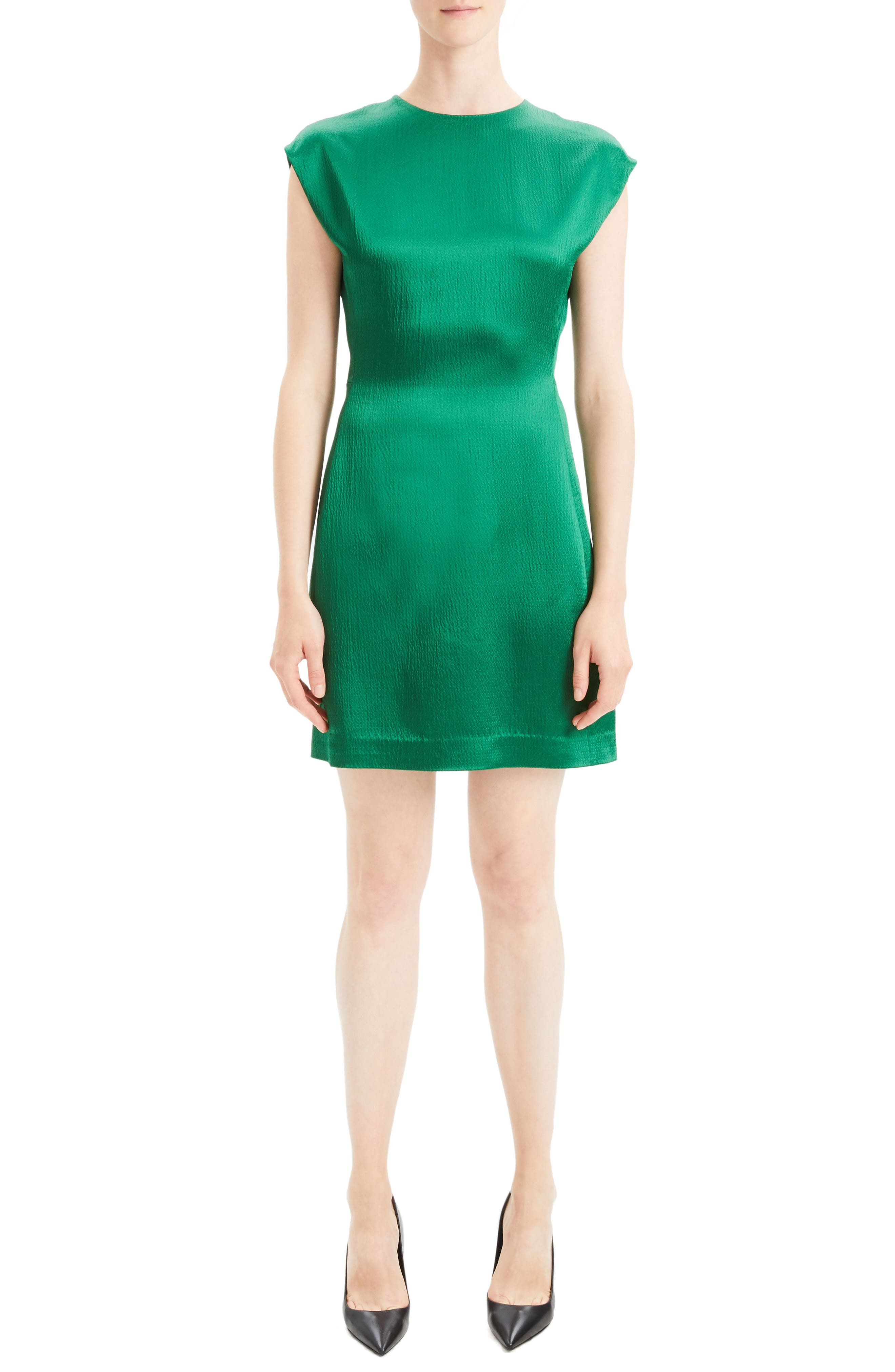Theory Structured Fitted Dress, Green