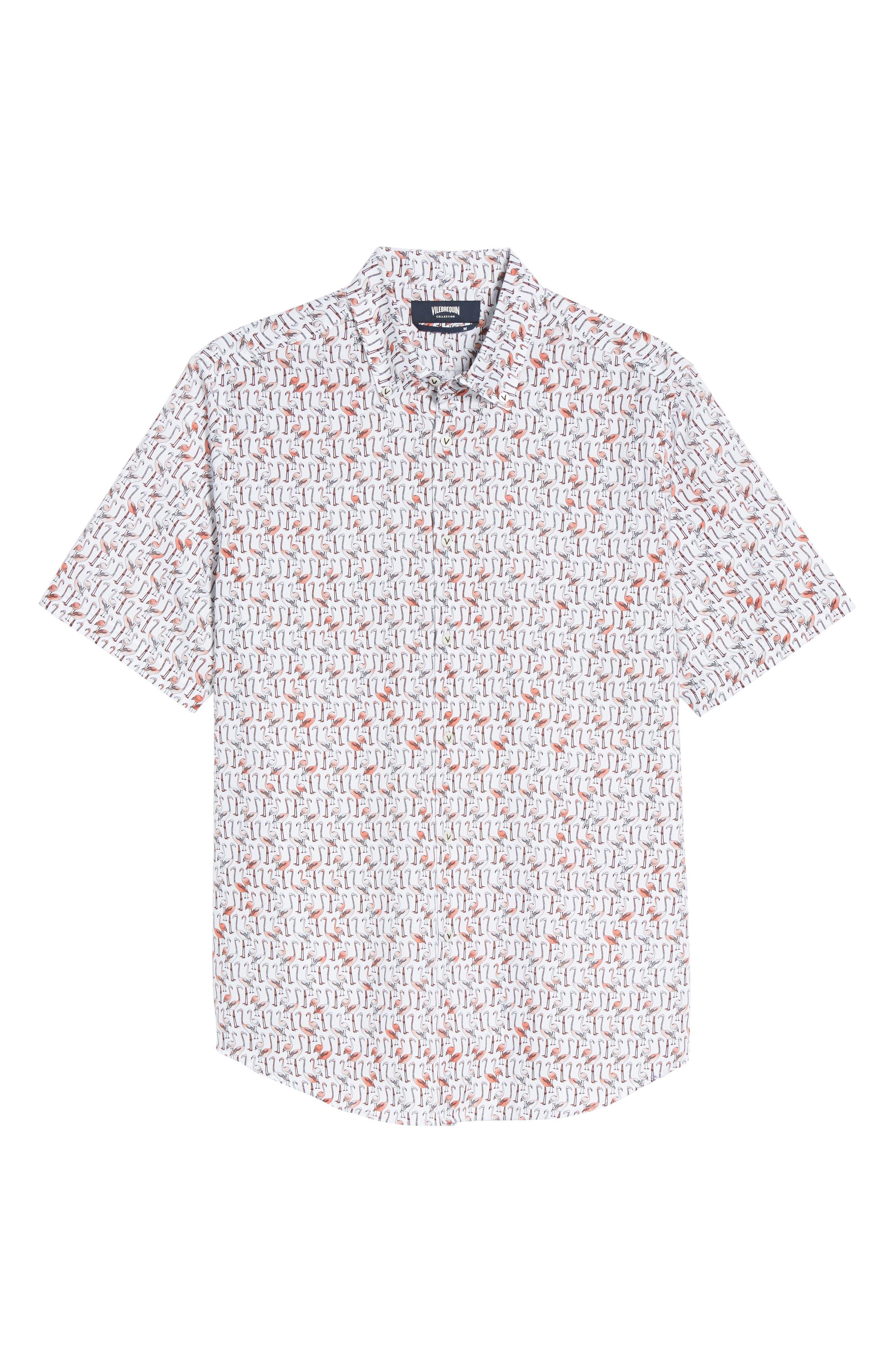 Slim Fit Flamingo Sport Shirt,                             Alternate thumbnail 6, color,                             950