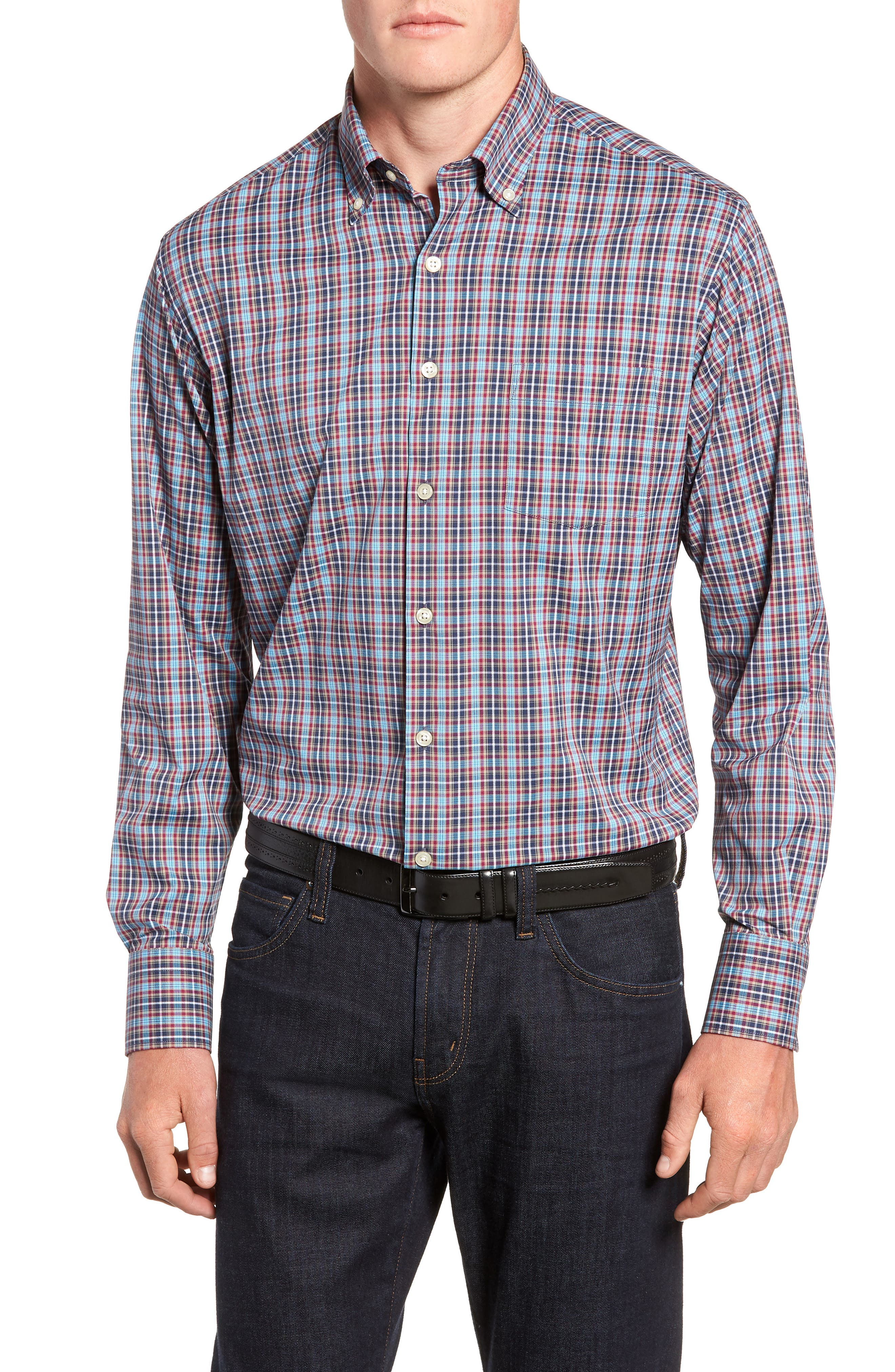 Clyde Plaid Performance Sport Shirt,                         Main,                         color, NAVY