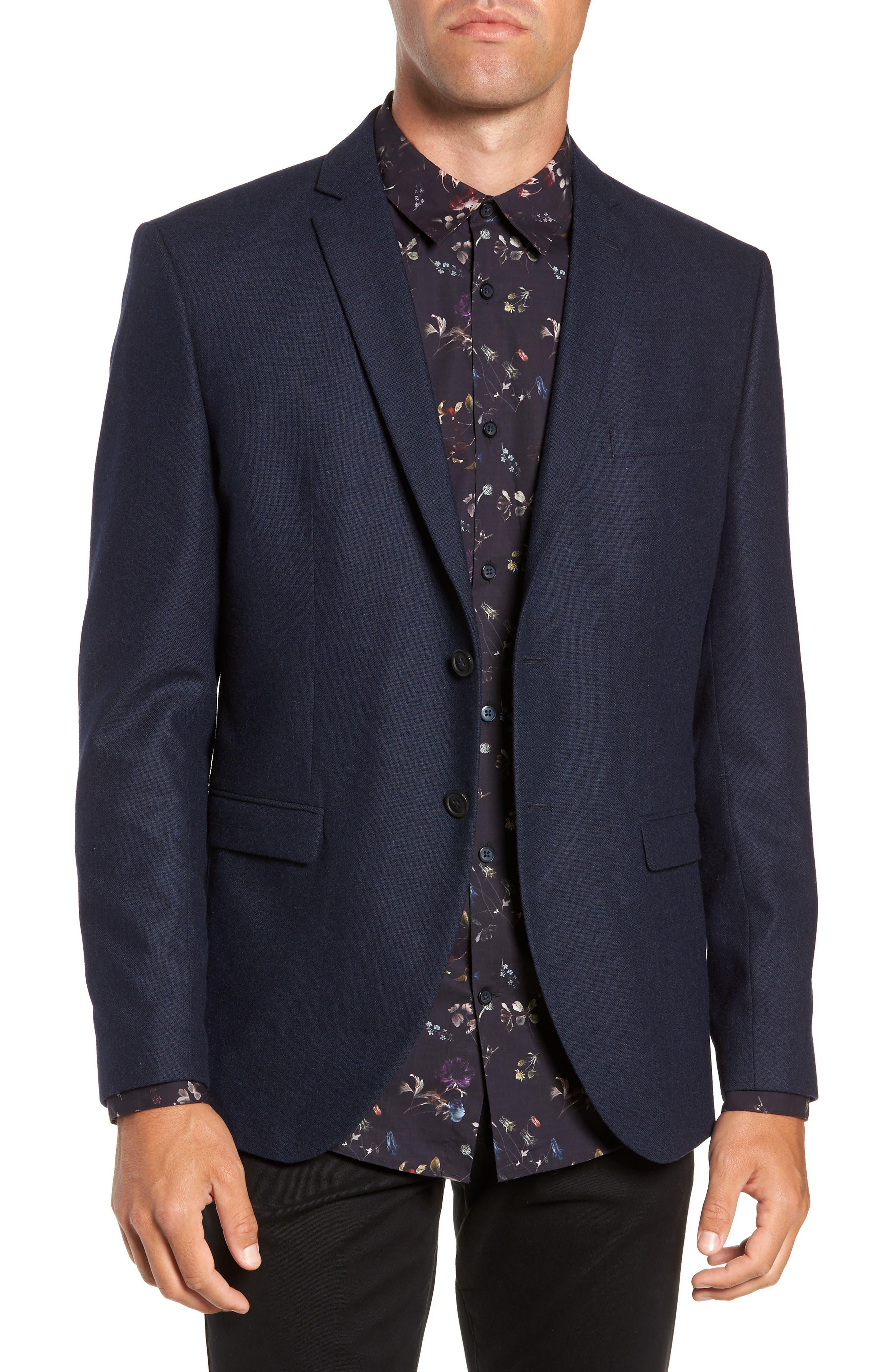 Myloiver Slim Fit Wool Blend Blazer,                         Main,                         color, DARK NAVY