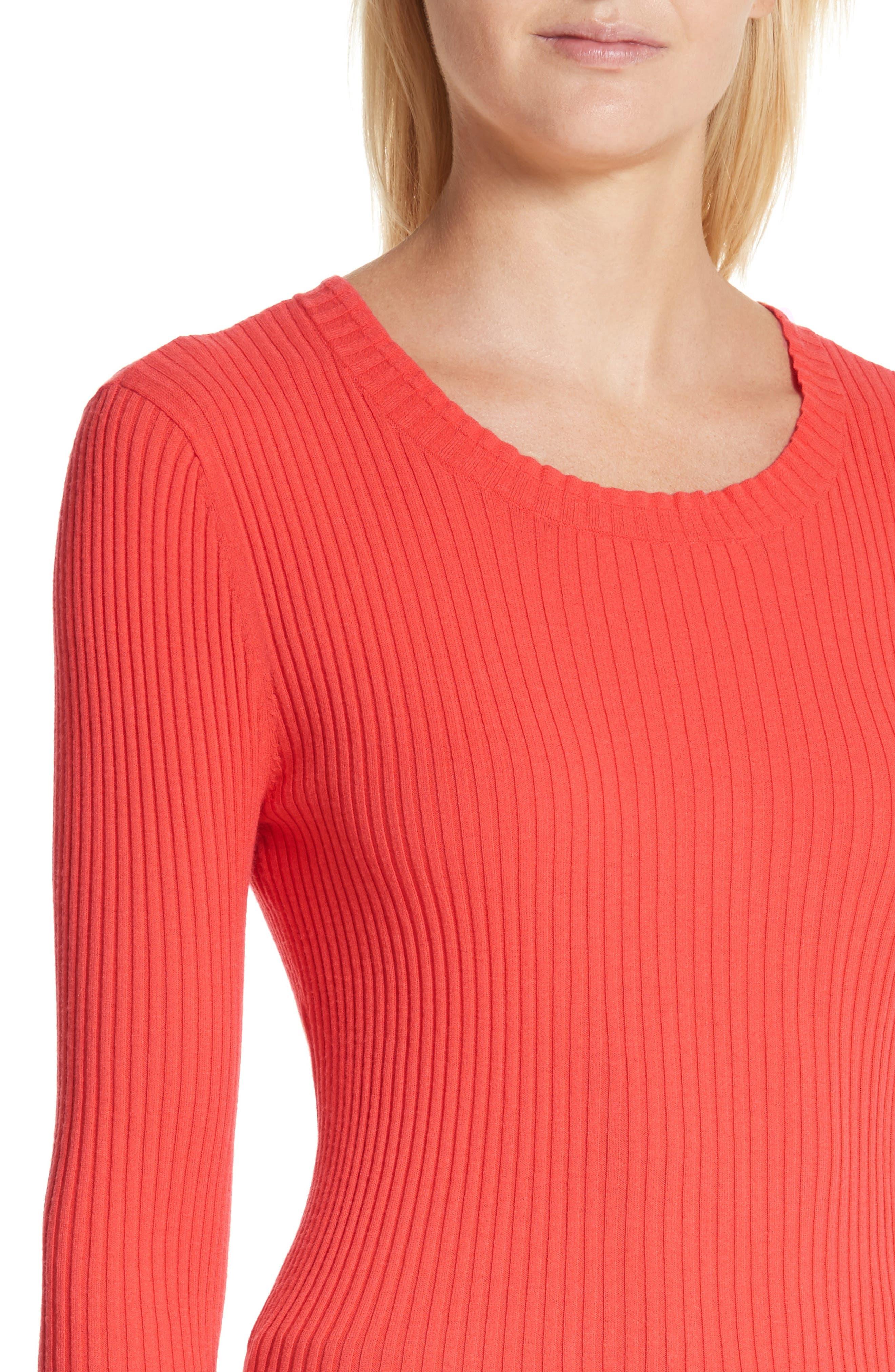 Rib Knit Scoop Neck Sweater,                             Alternate thumbnail 8, color,