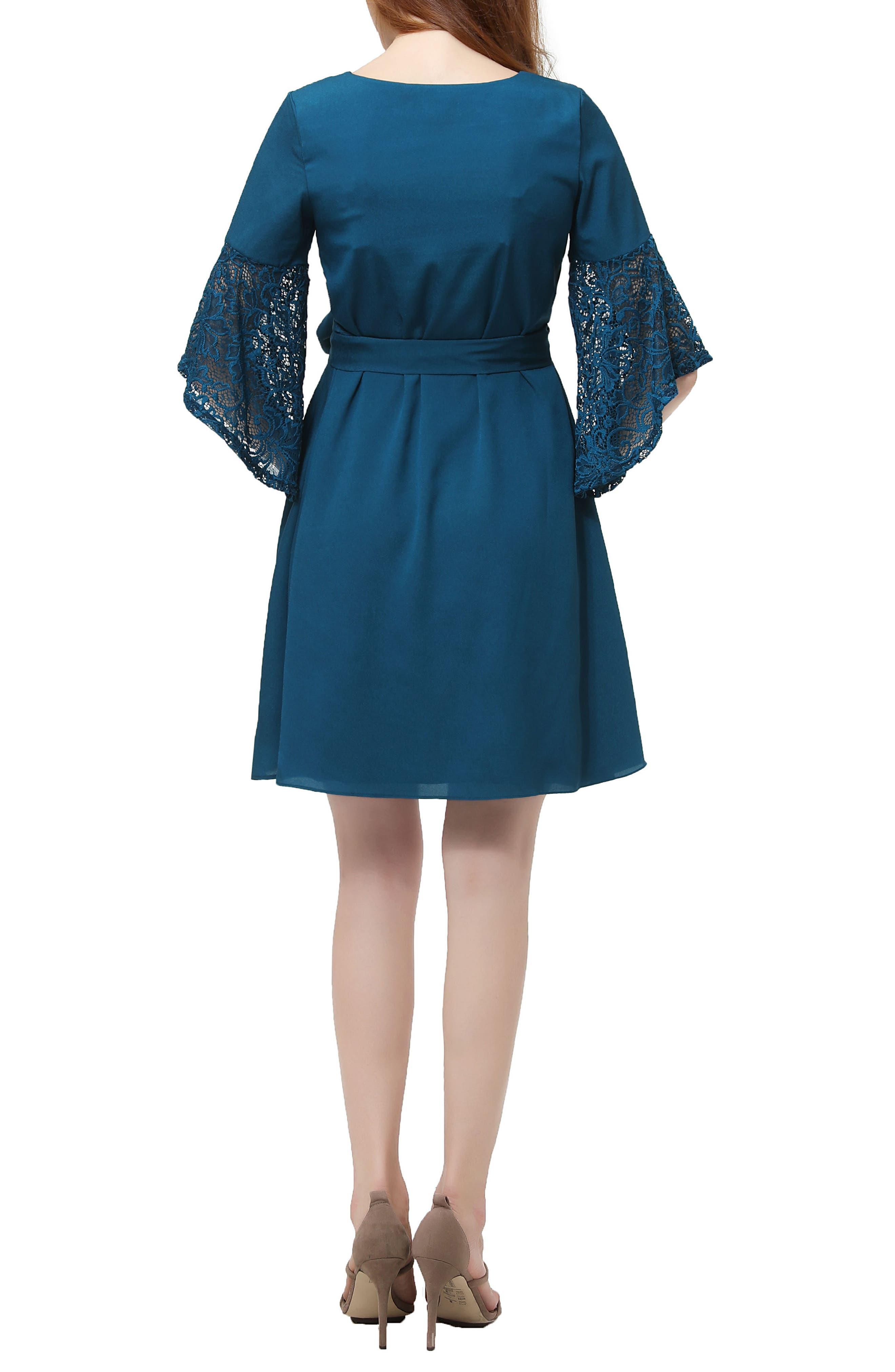 Abbey Lace Trim Maternity Dress,                             Alternate thumbnail 2, color,                             DEEP SEA