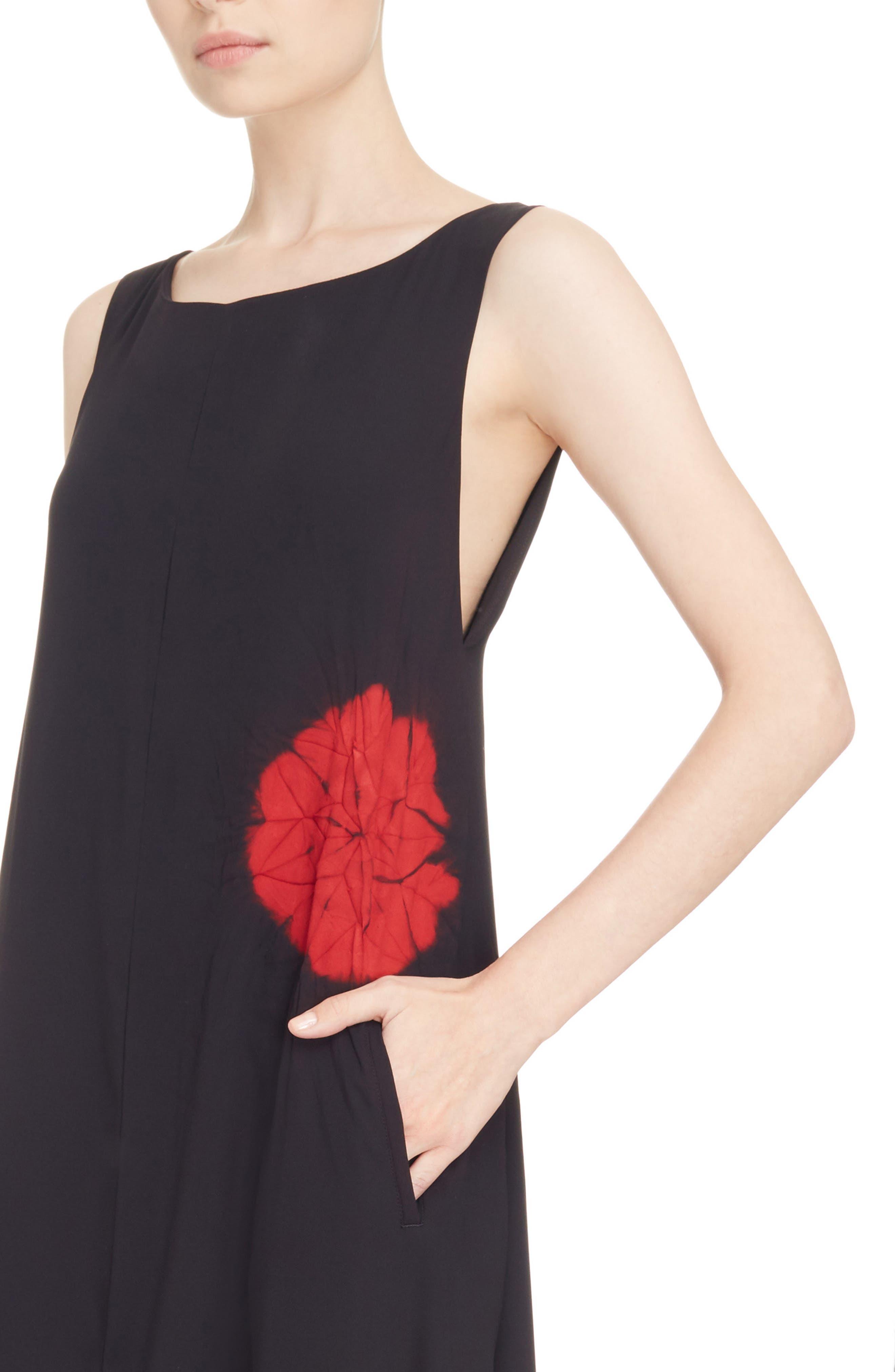 Print V-Back Shift Dress,                             Alternate thumbnail 4, color,                             001