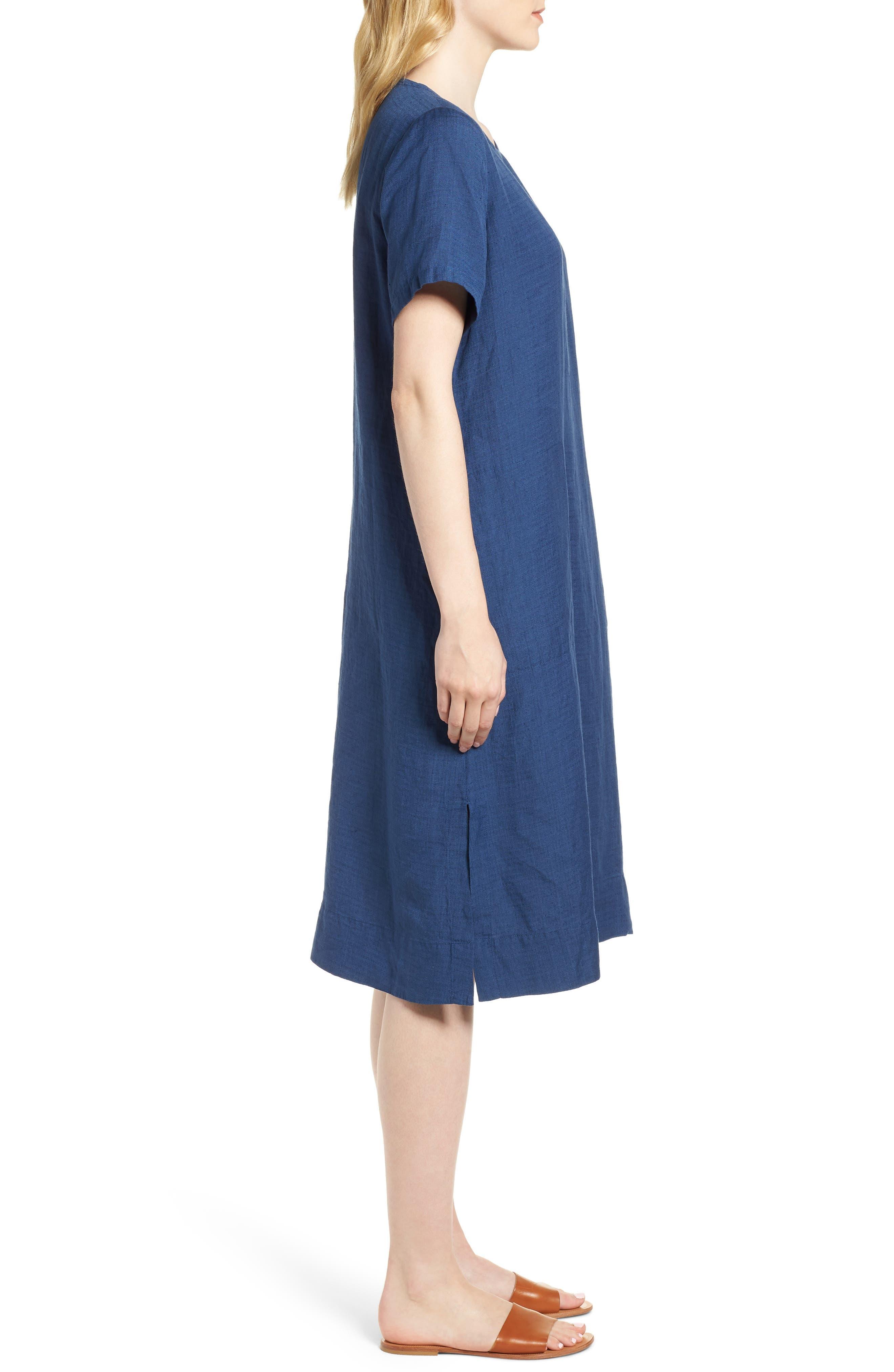 Linen Blend Shift Dress,                             Alternate thumbnail 3, color,                             480