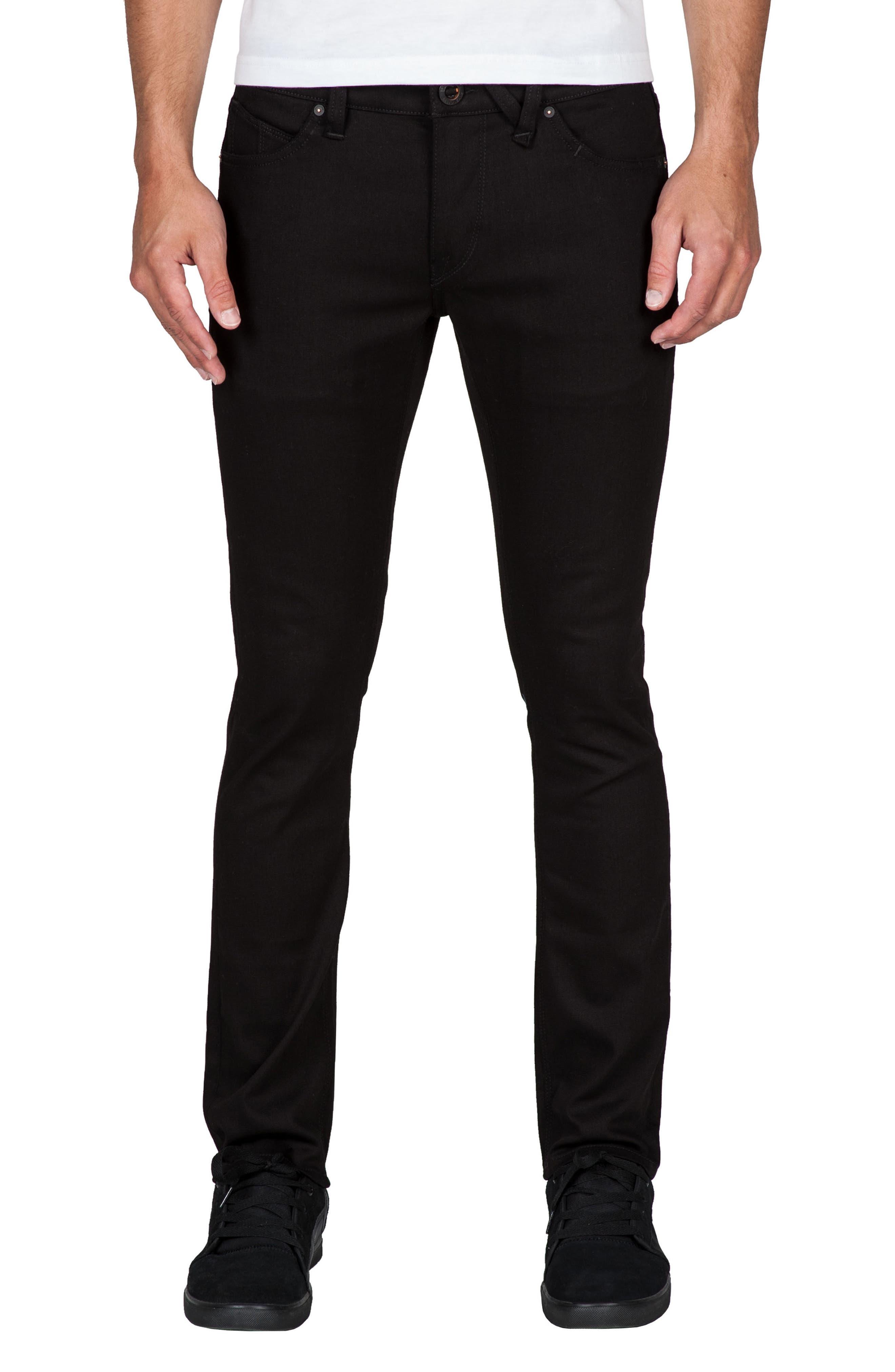 2x4 Slim Straight Leg Jeans,                         Main,                         color, BLACK BLACK