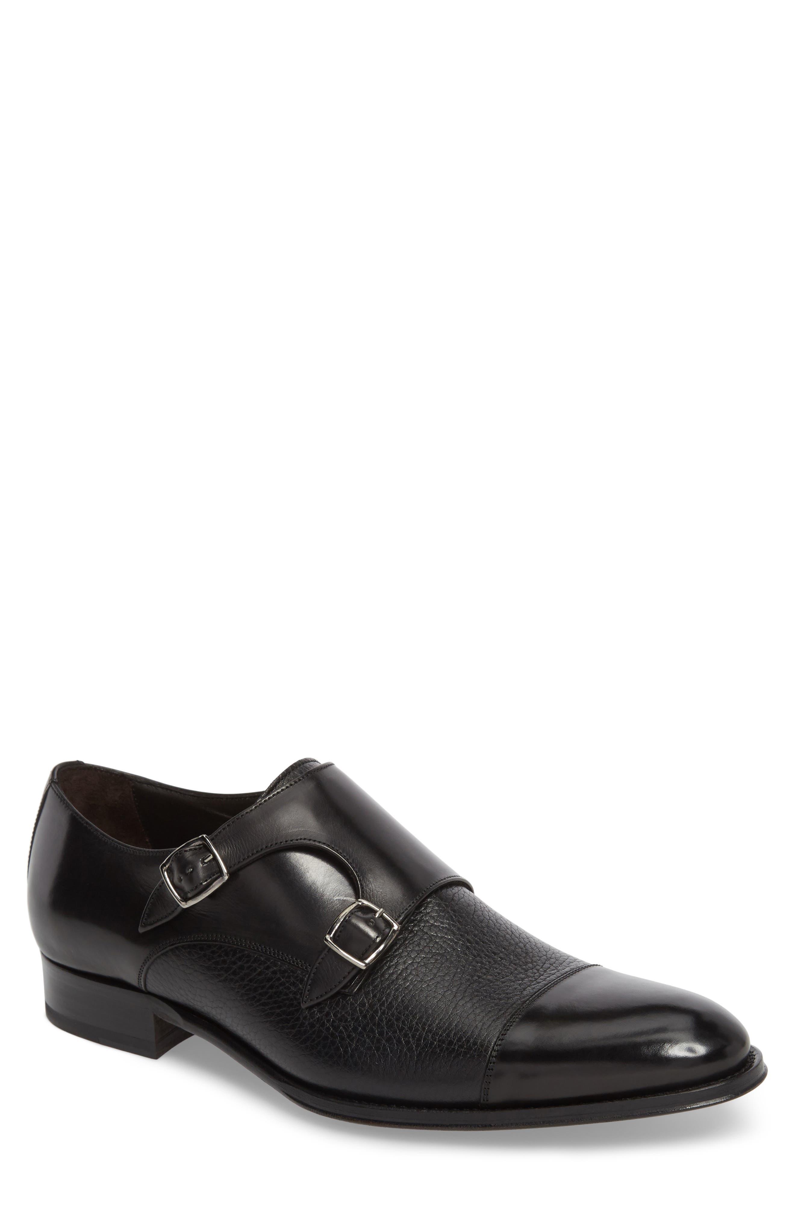 Kiev Double Monk Strap Shoe,                         Main,                         color, BLACK/ BLACK LEATHER