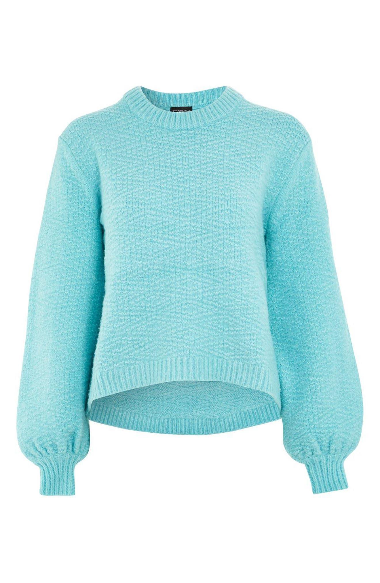 Textured Balloon Sleeve Sweater,                             Alternate thumbnail 4, color,