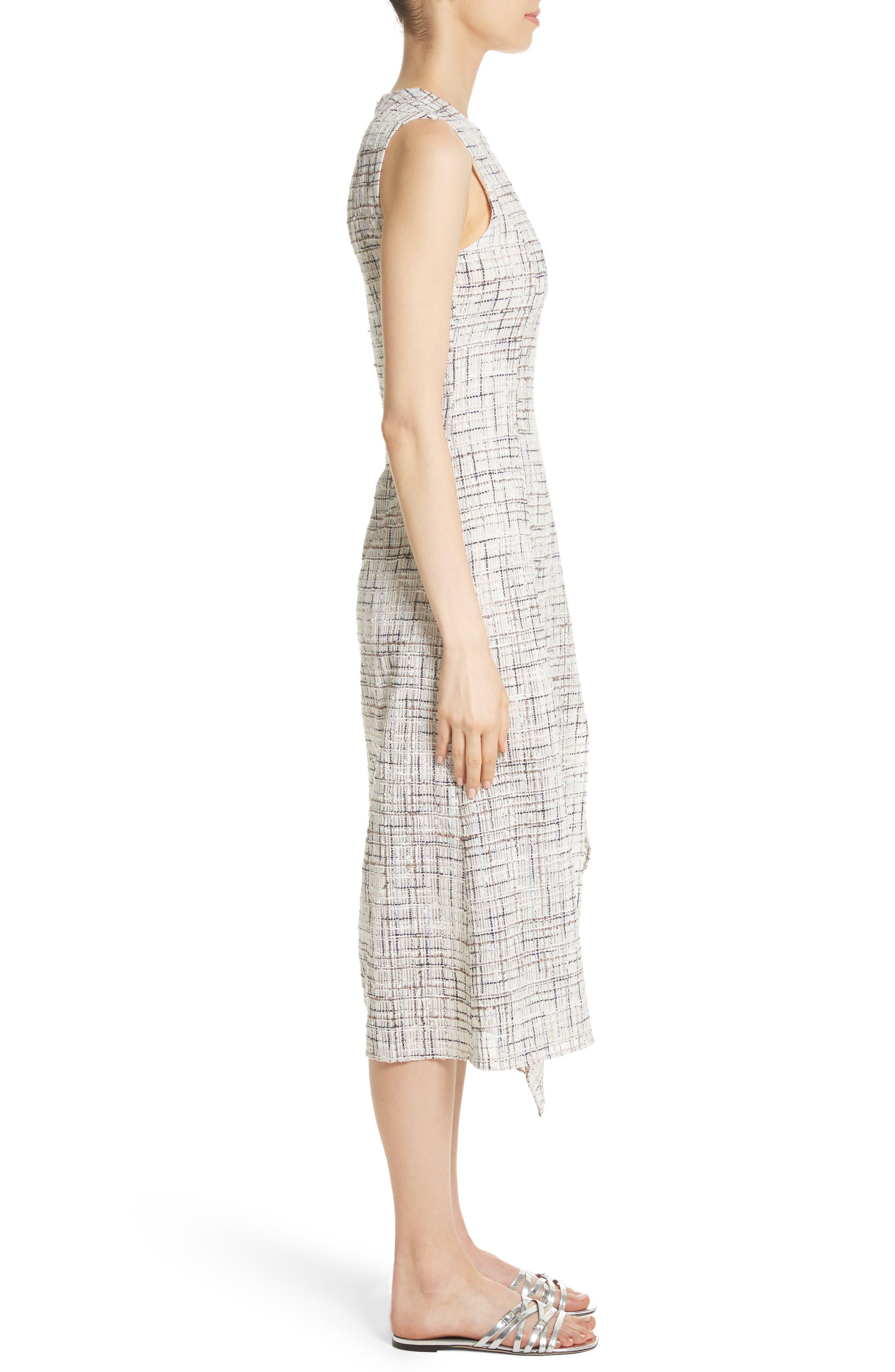 Draped Tweed Dress,                             Alternate thumbnail 3, color,