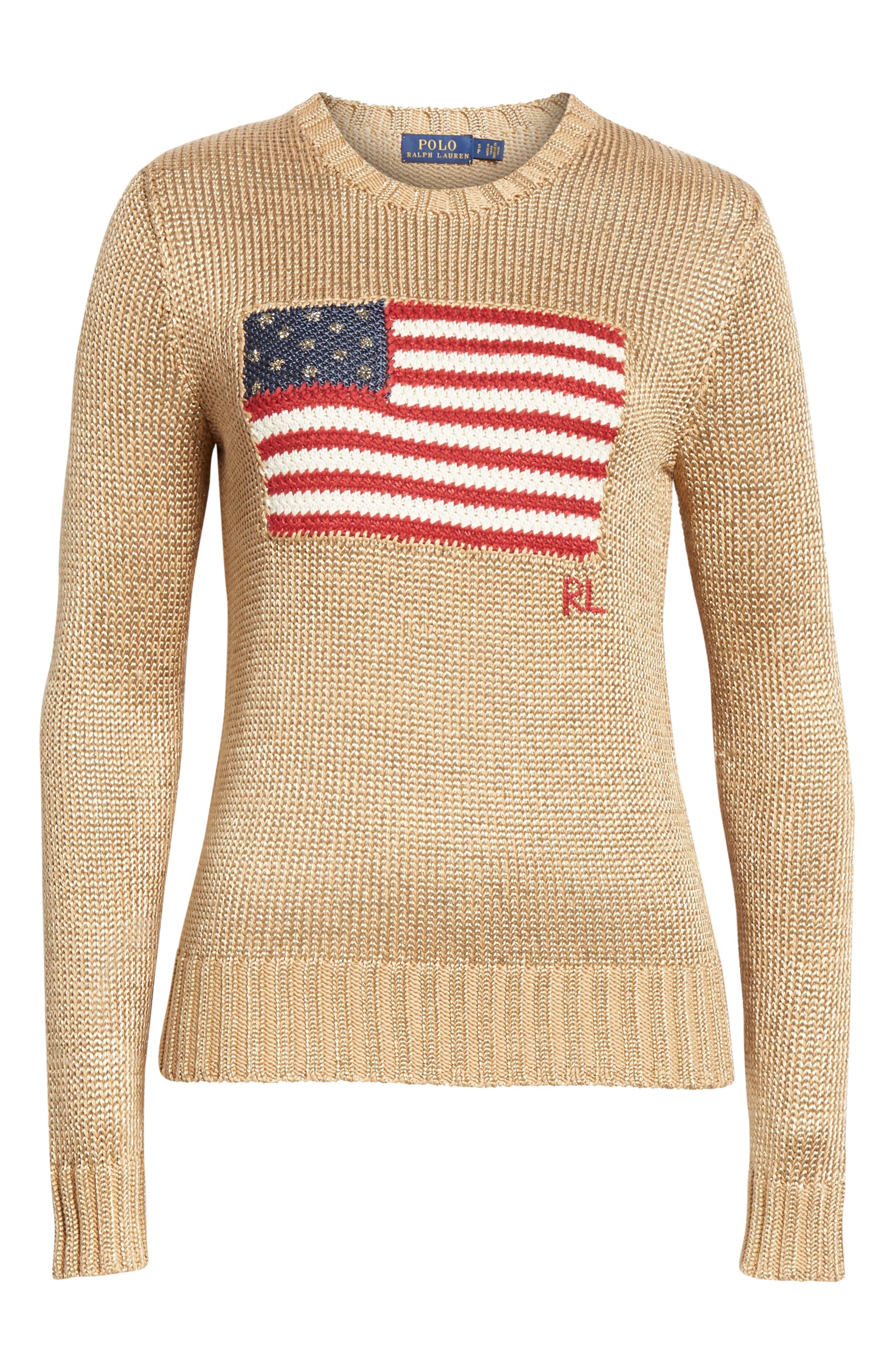 Metallic Cotton Blend Flag Sweater,                             Alternate thumbnail 6, color,                             GOLD MULTI