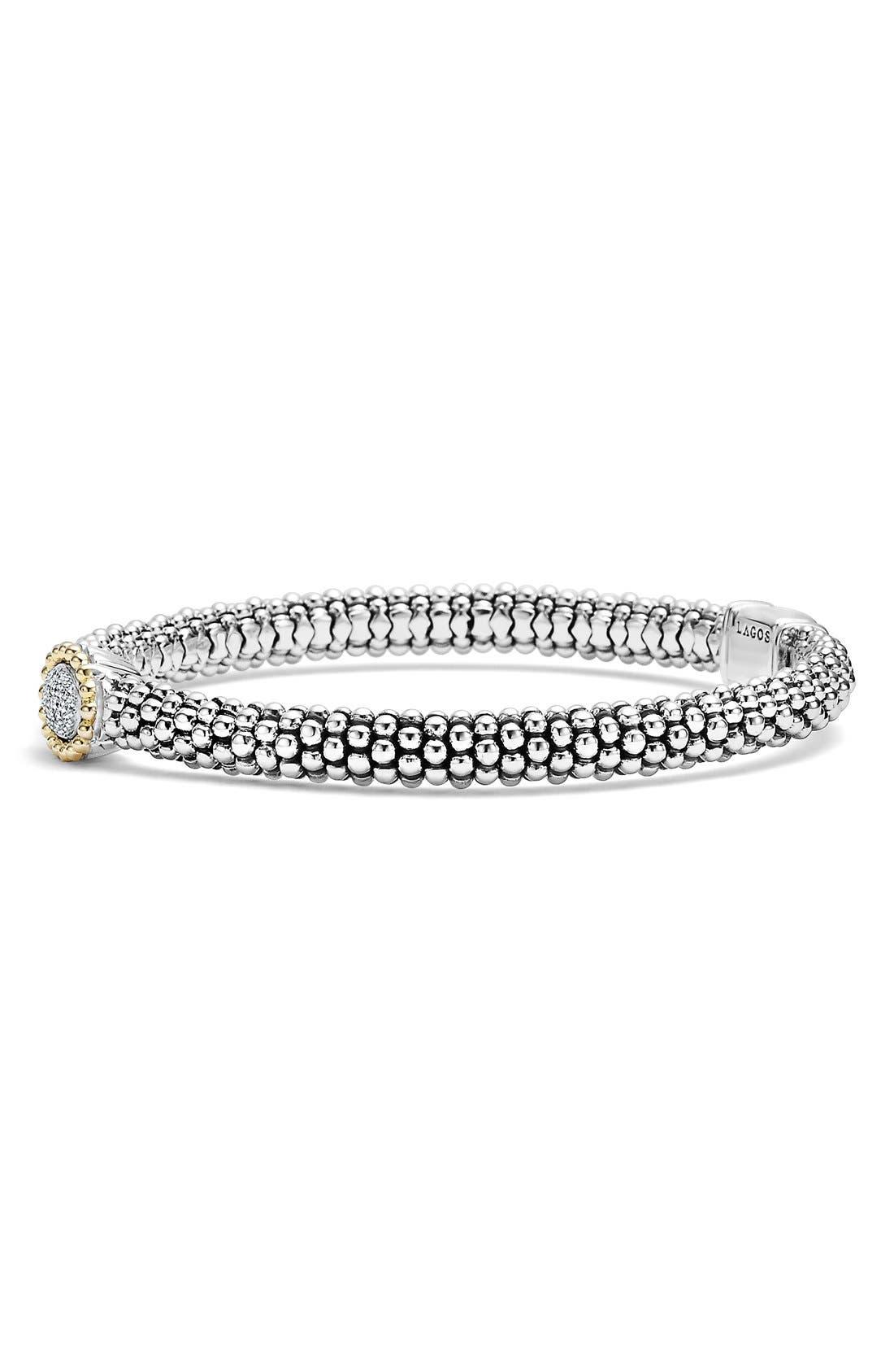 Diamond Caviar Oval Bracelet,                             Alternate thumbnail 3, color,                             040