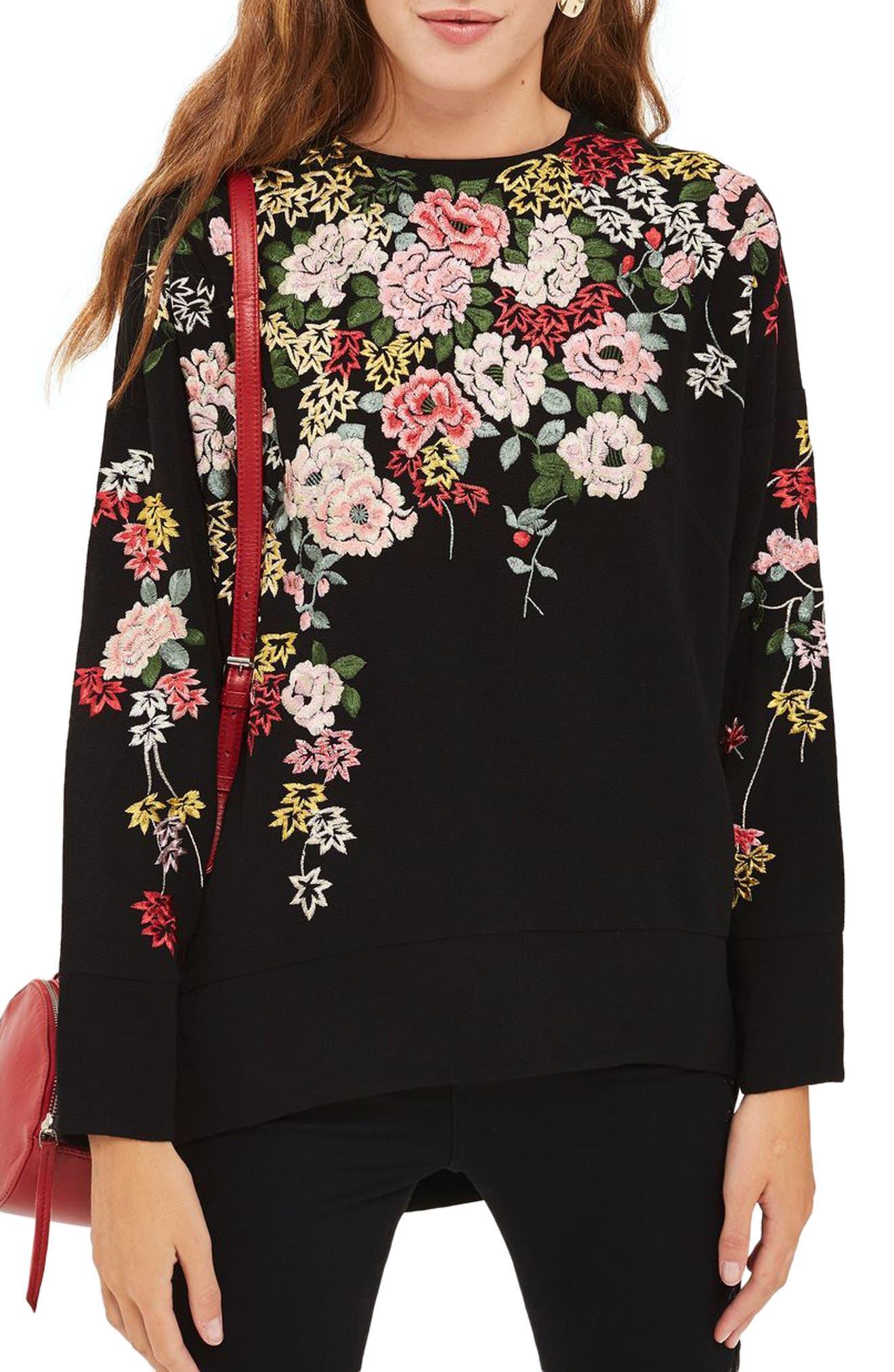 Kimono Embroidered Sweatshirt,                             Main thumbnail 1, color,                             001