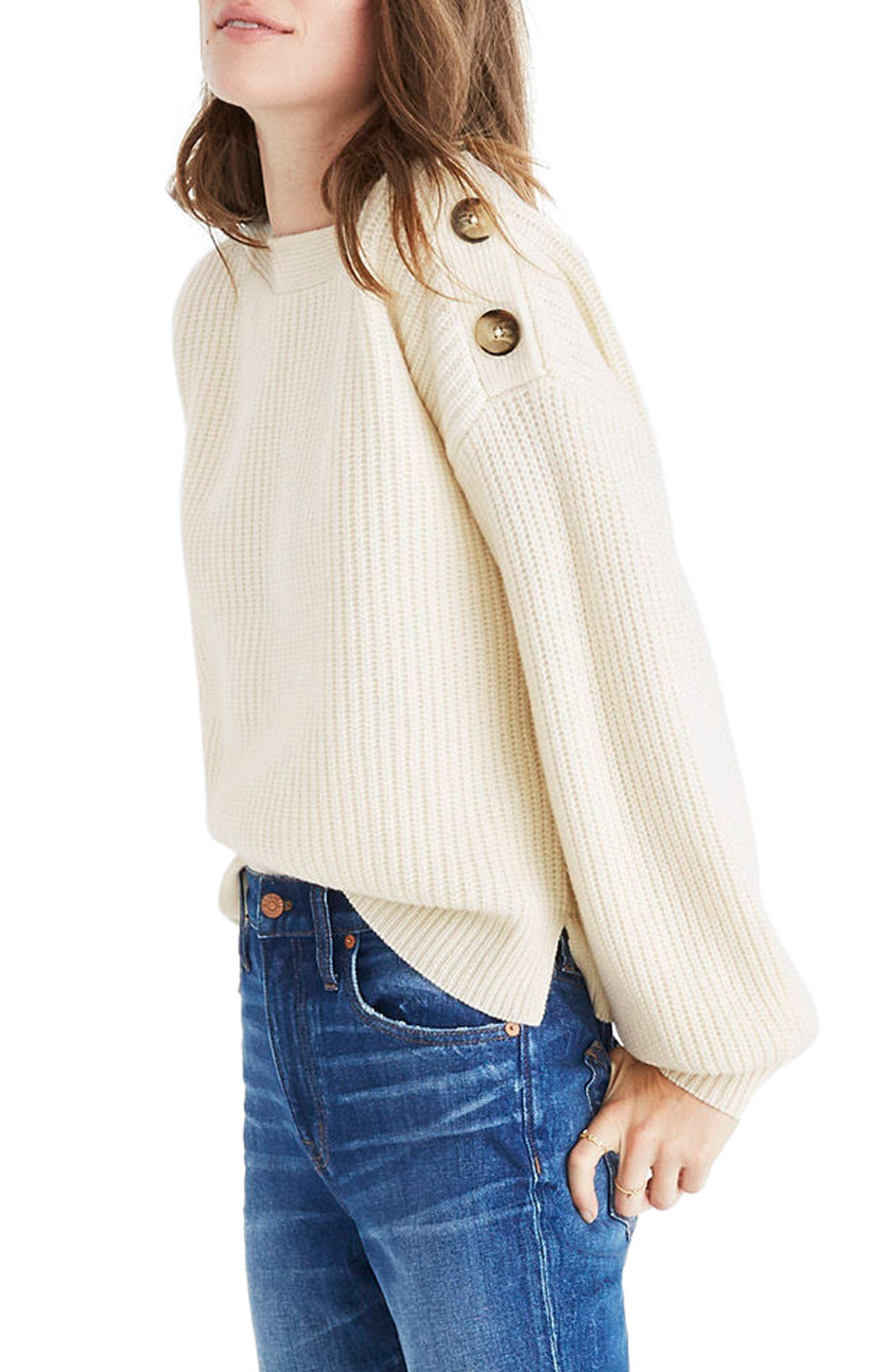 Boatneck Bubble Sleeve Sweater,                             Alternate thumbnail 3, color,                             100