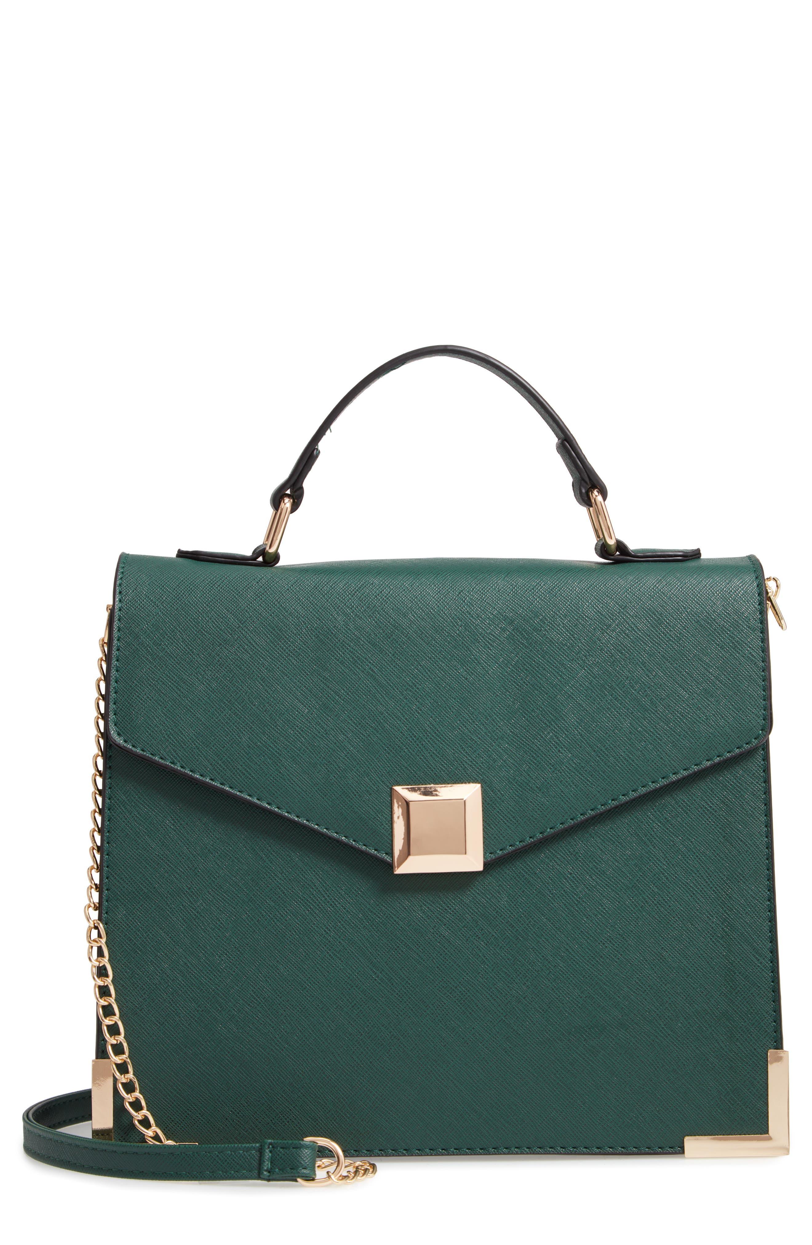 Square Faux Leather Satchel, Main, color, SEA GREEN