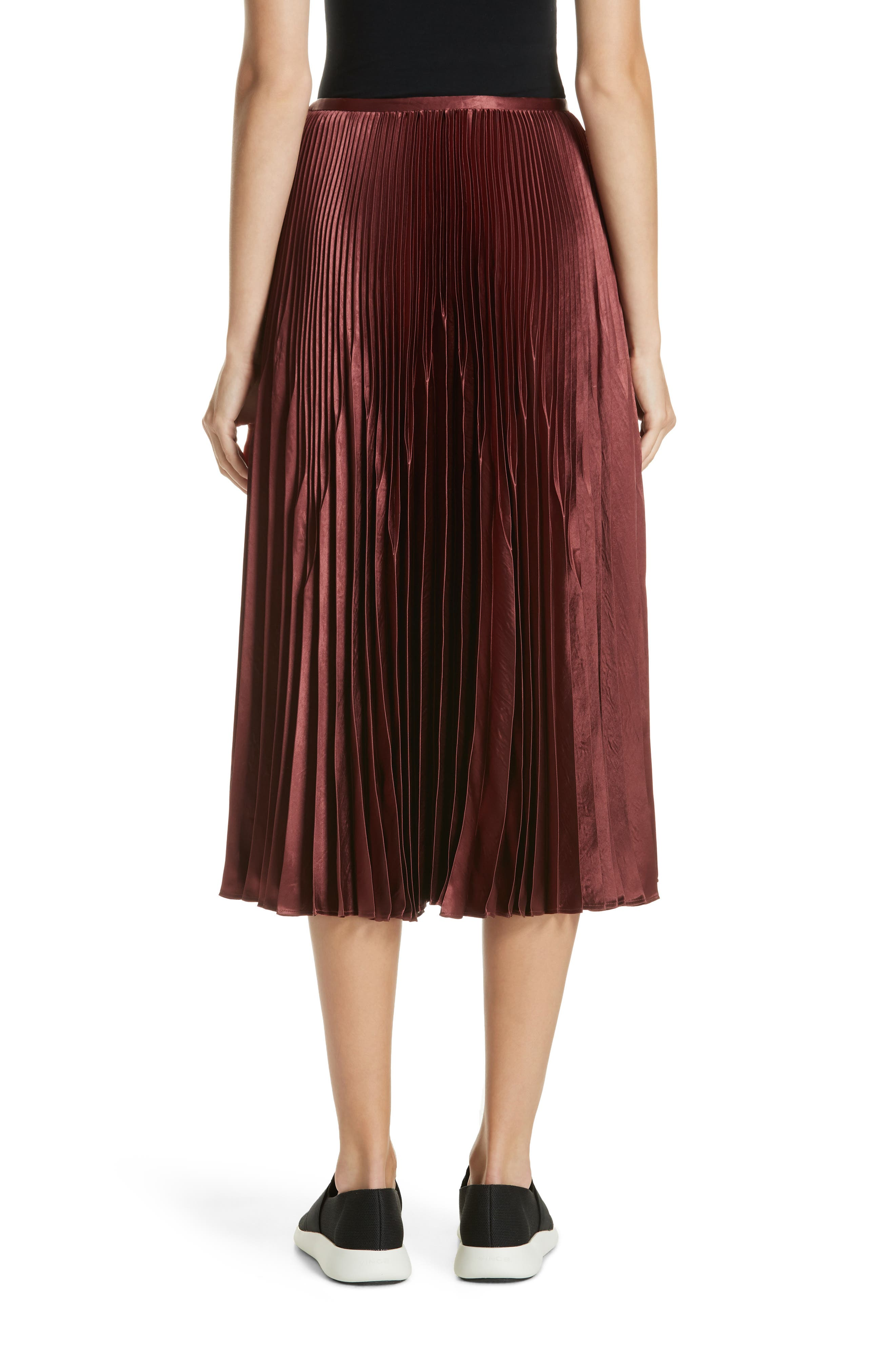 Chevron Pleated Satin Skirt,                             Alternate thumbnail 2, color,                             ANISE