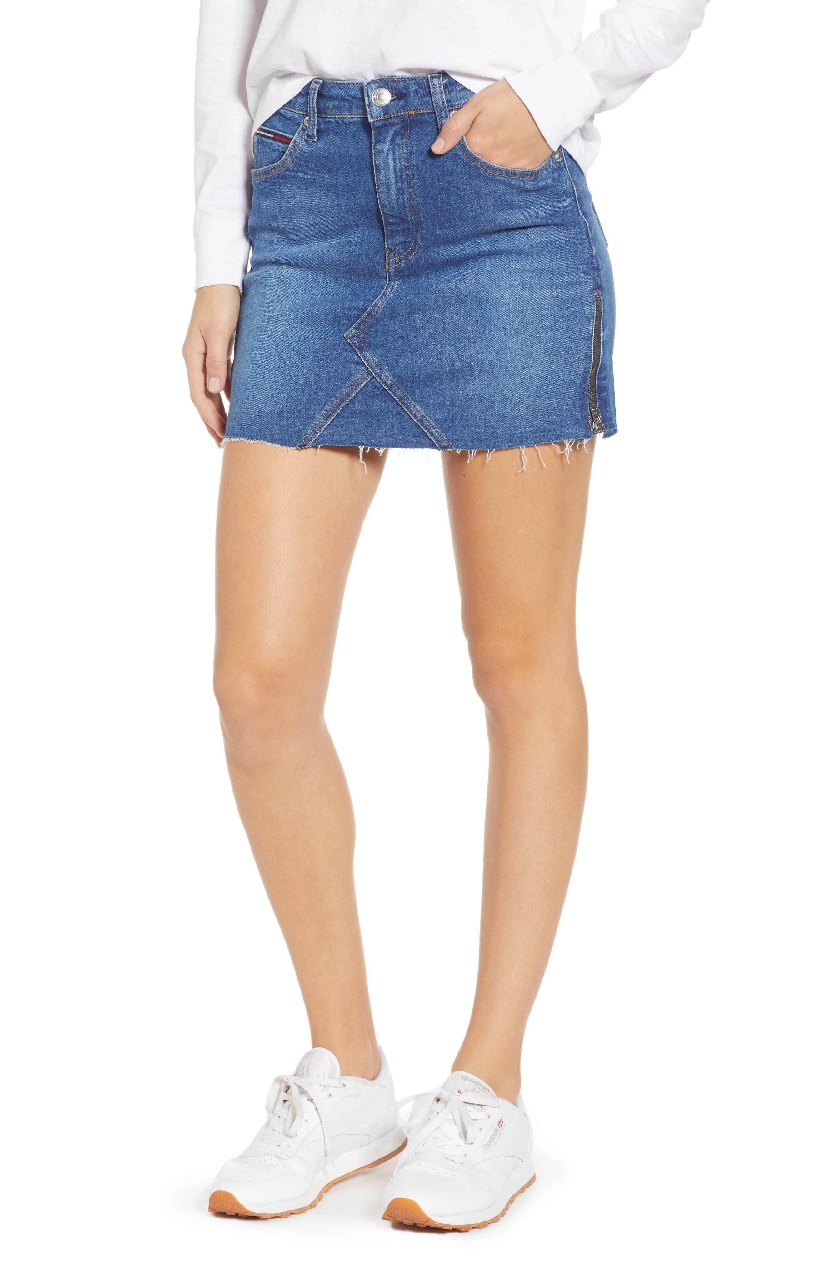 Denim Skirt,                             Main thumbnail 1, color,                             BIKER MID BLUE COMFORT