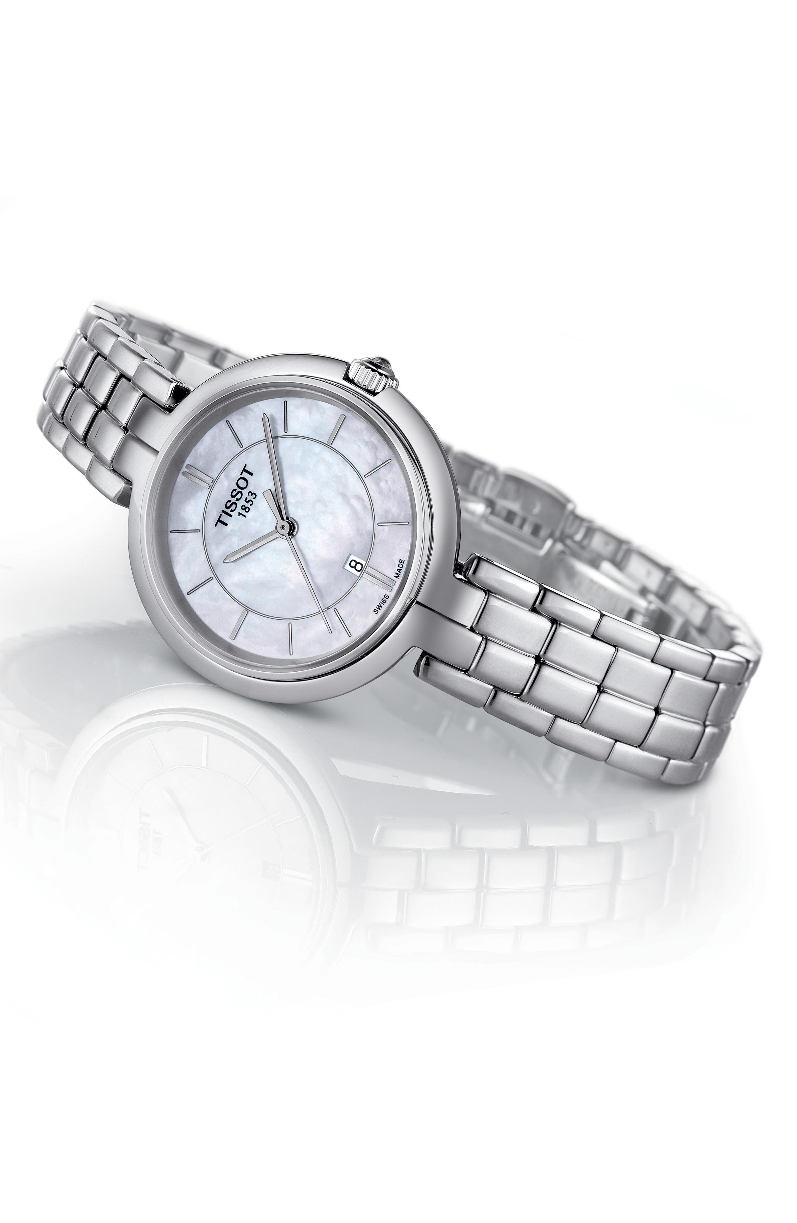 Flamingo Bracelet Watch, 26mm,                             Alternate thumbnail 4, color,                             SILVER/ MOTHER OF PEARL