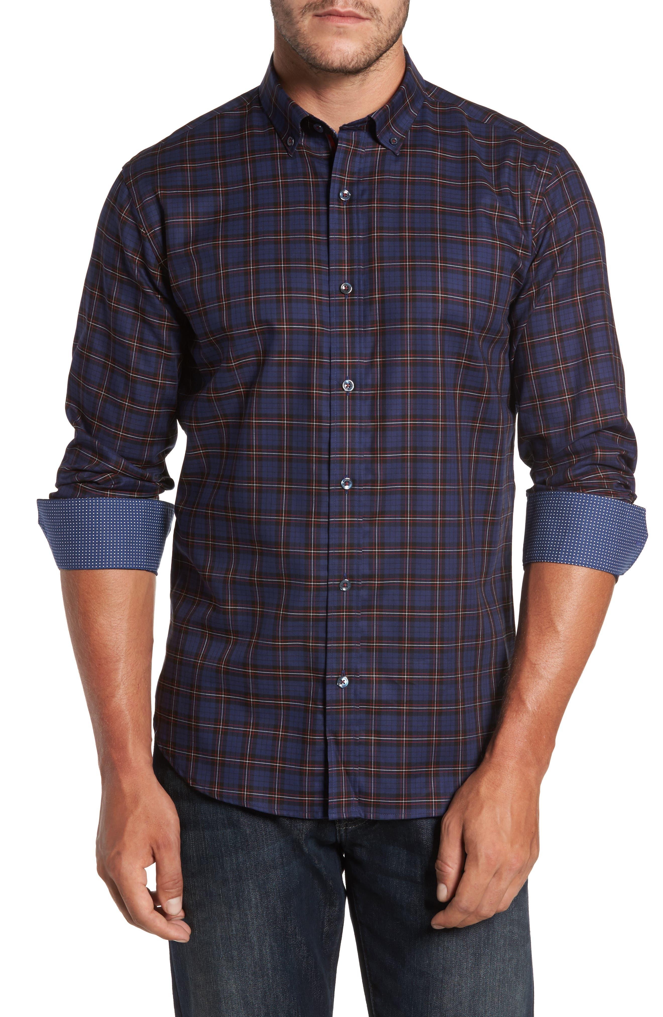Trim Fit Box Check Sport Shirt,                         Main,                         color, 410